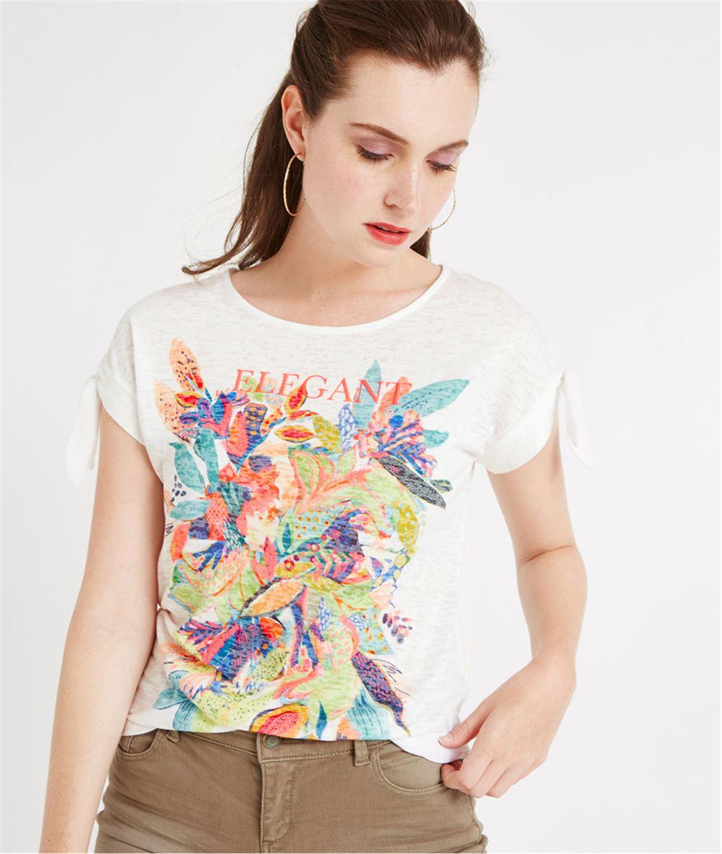 T-shirt print fleuri fluo BLANC