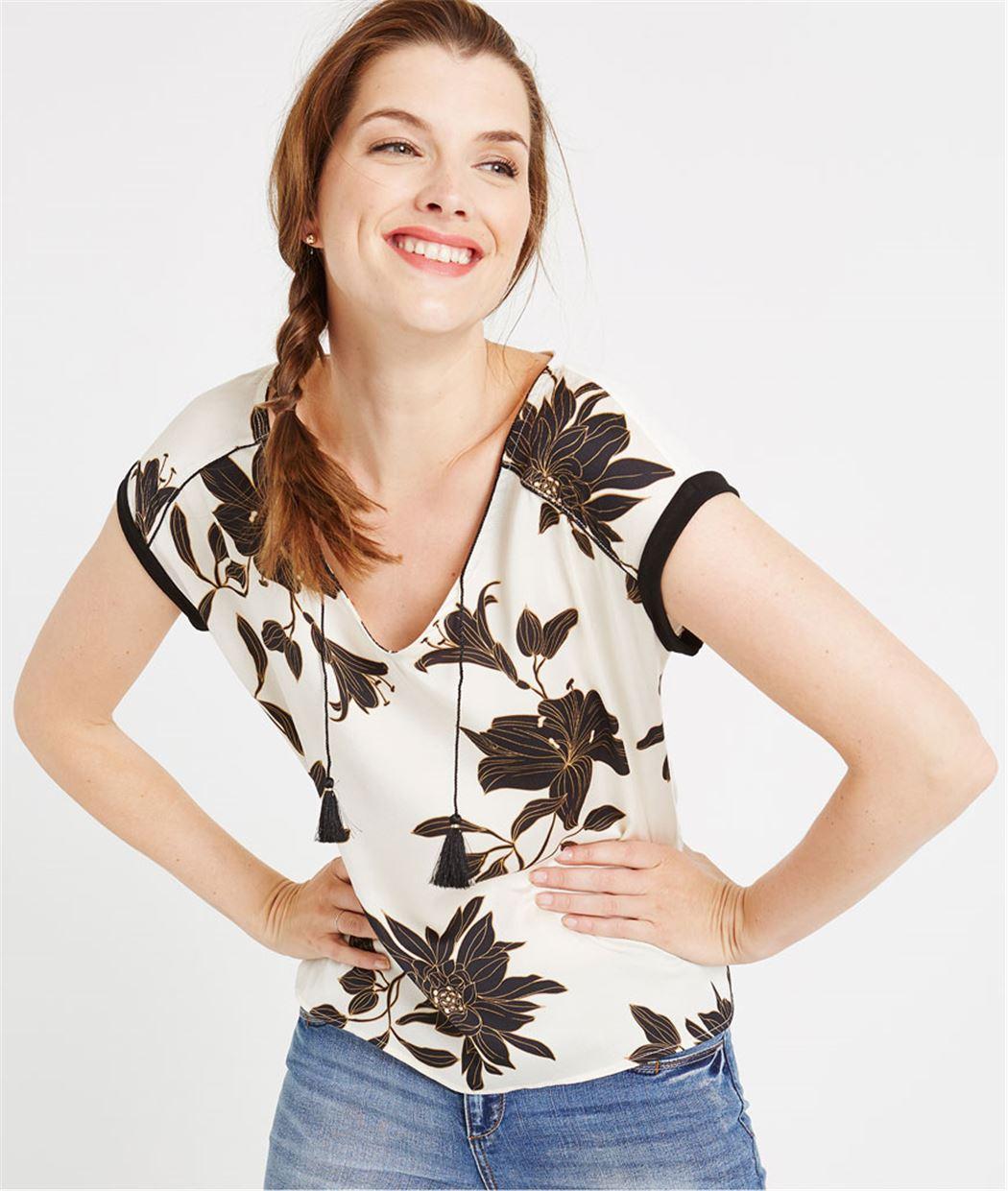 T-shirt écu bi-matières imprimé fleurs ECRU