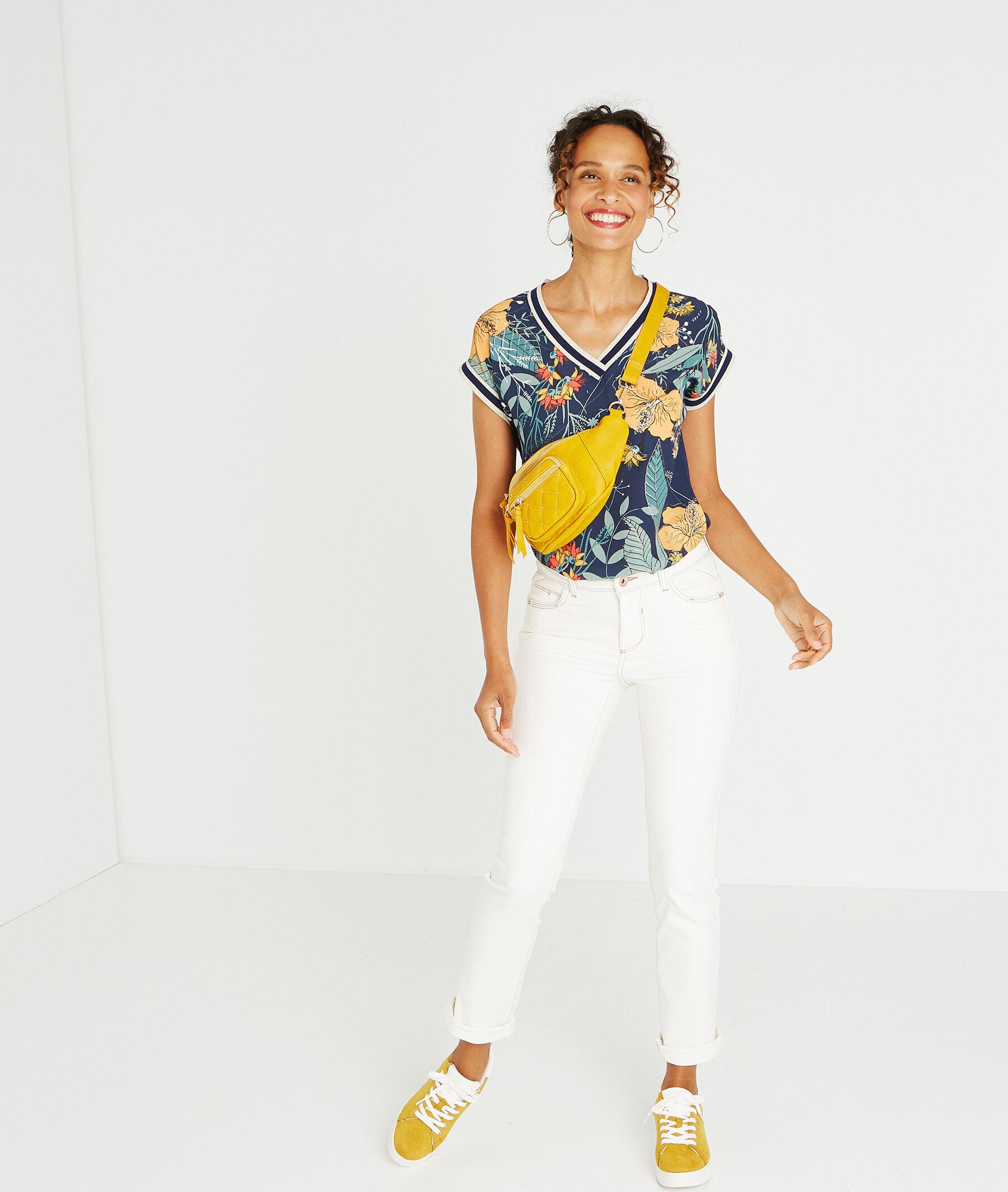 b21004dc9f Jean blanc raccourci coutures apparentes BLANC - Grain de Malice