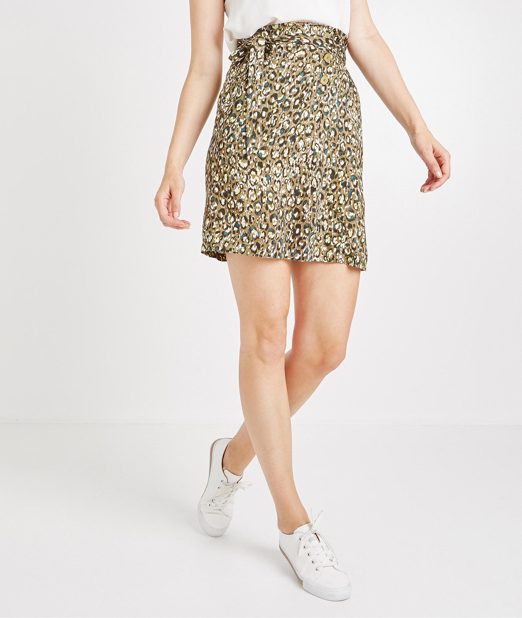 Jupe léopard fond kaki IMPRIME