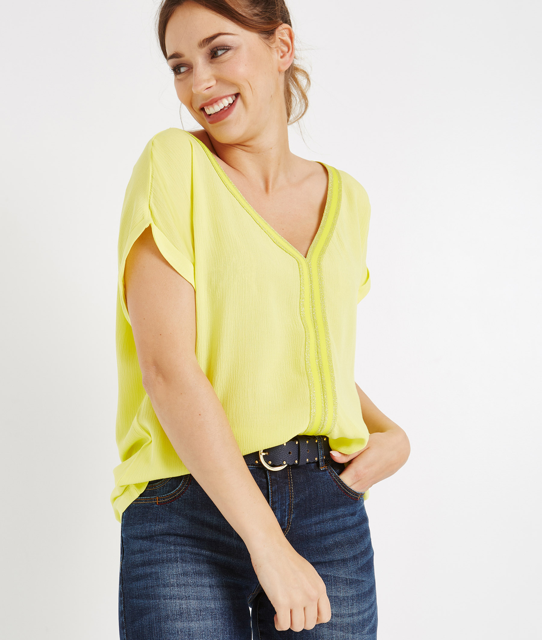 T-shirt uni jaune col V avec bandes JAUNE