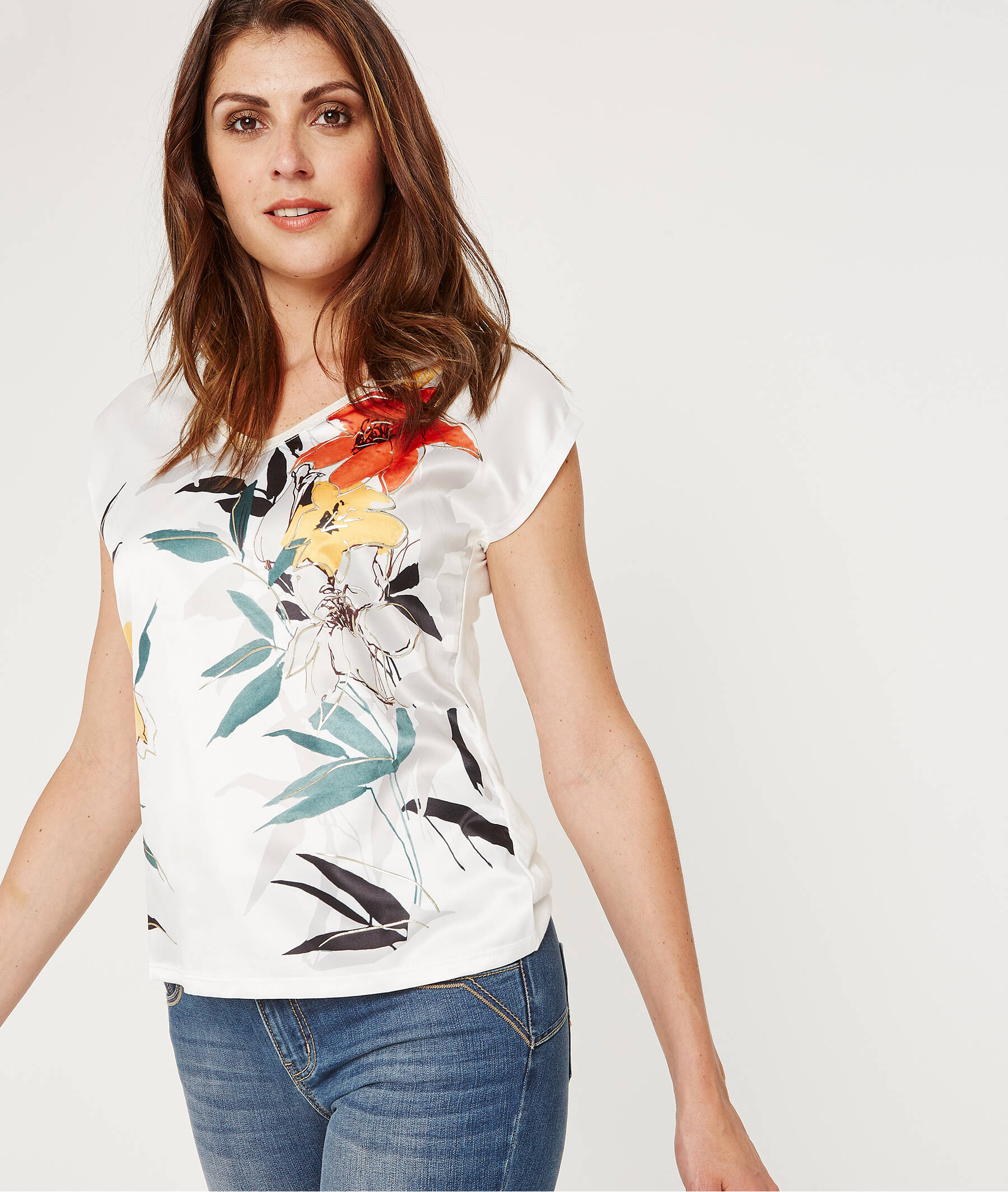 T-shirt bi-matières fleuri ECRU