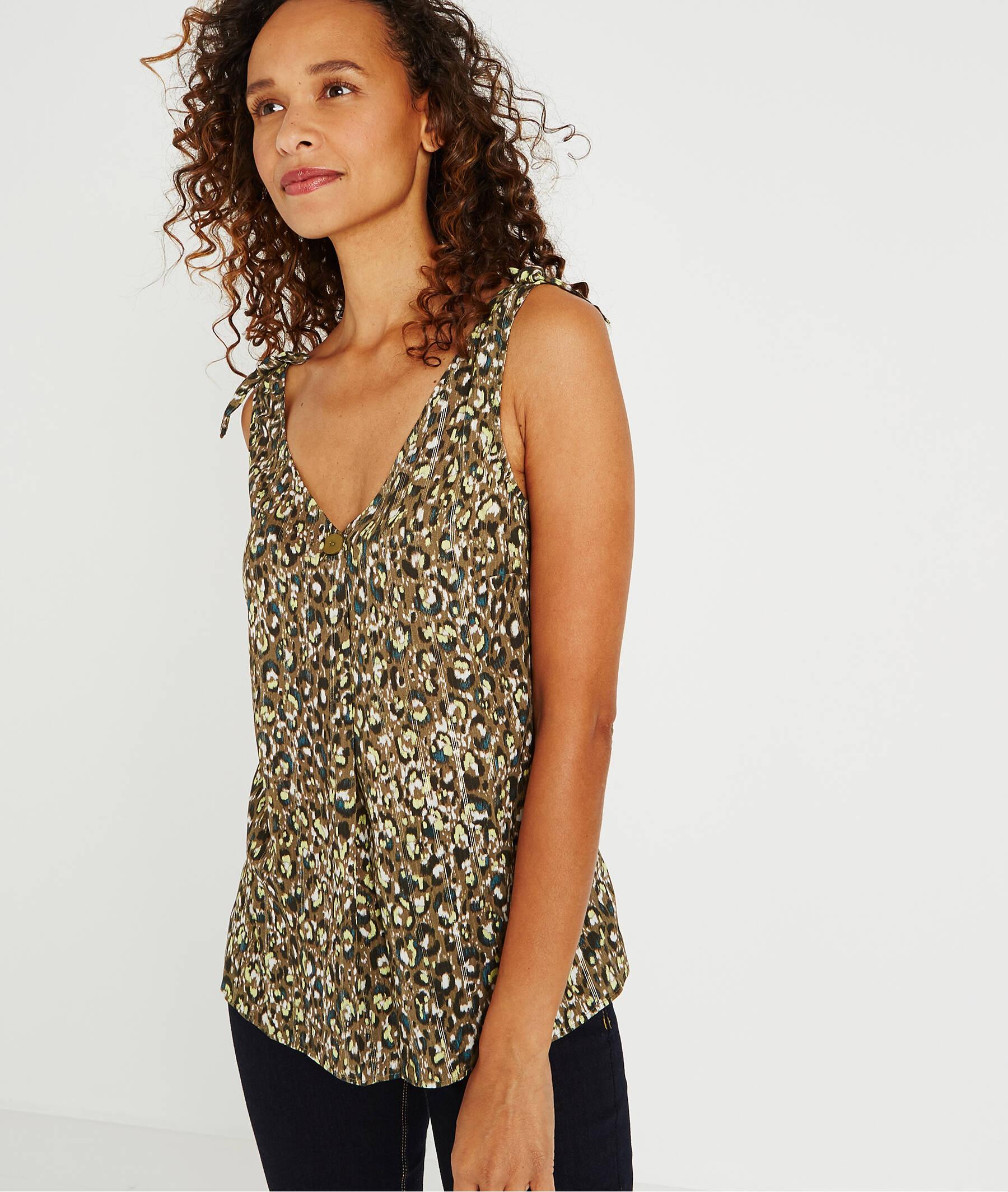 Débardeur imprimé léopard avec bouton IMPRIME
