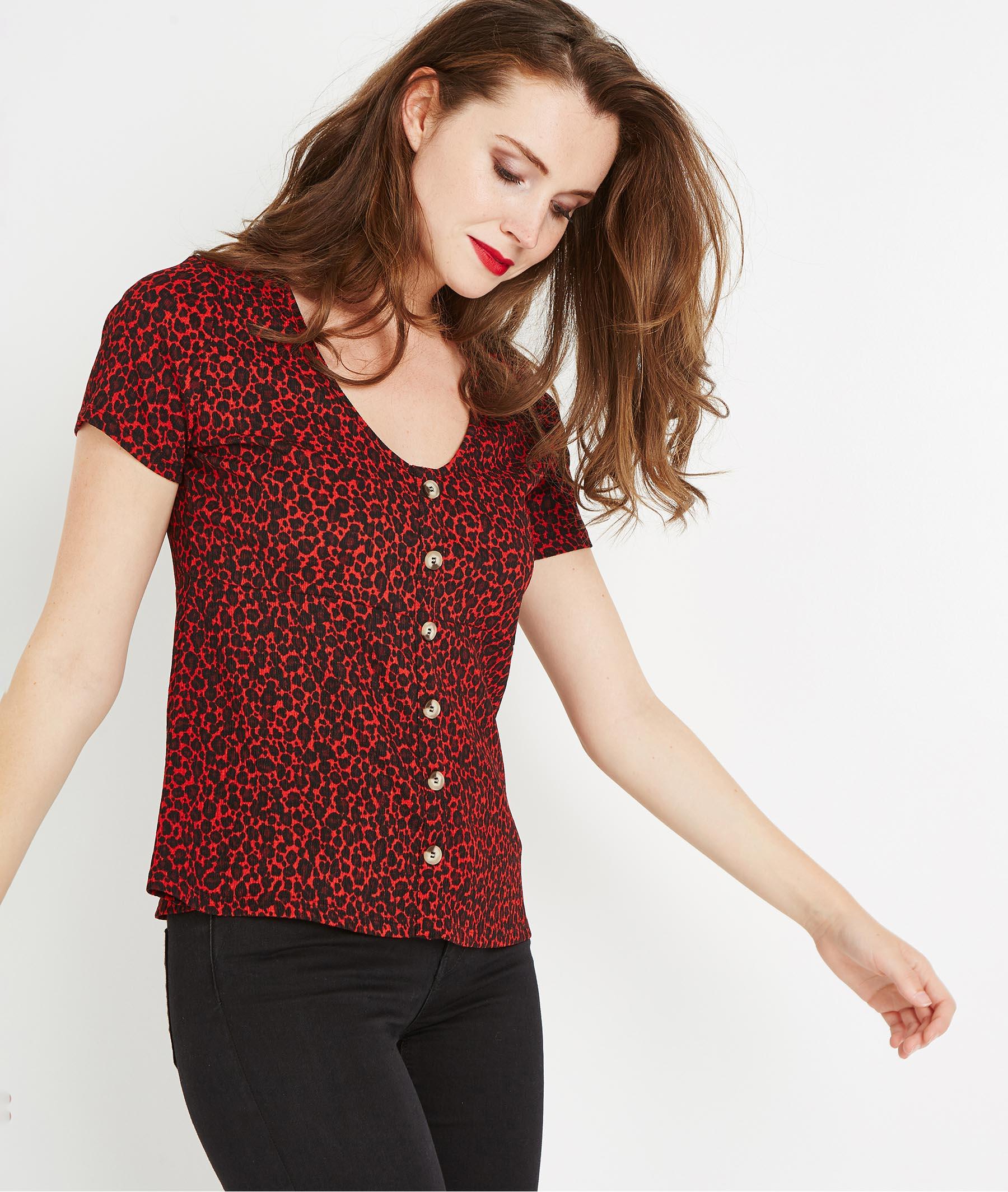 T-shirt imprimé léopard ROUGE