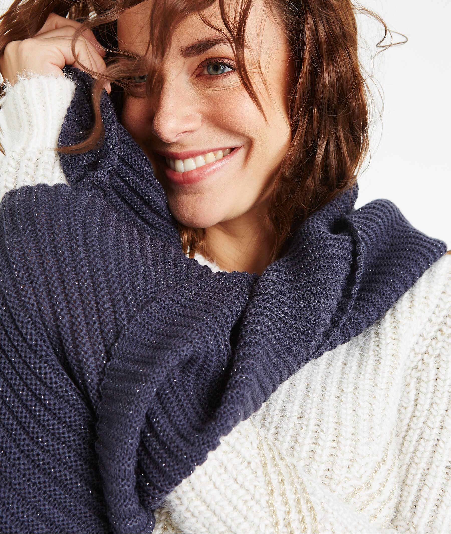 Echarpe tricot unie avec lurex MARINE
