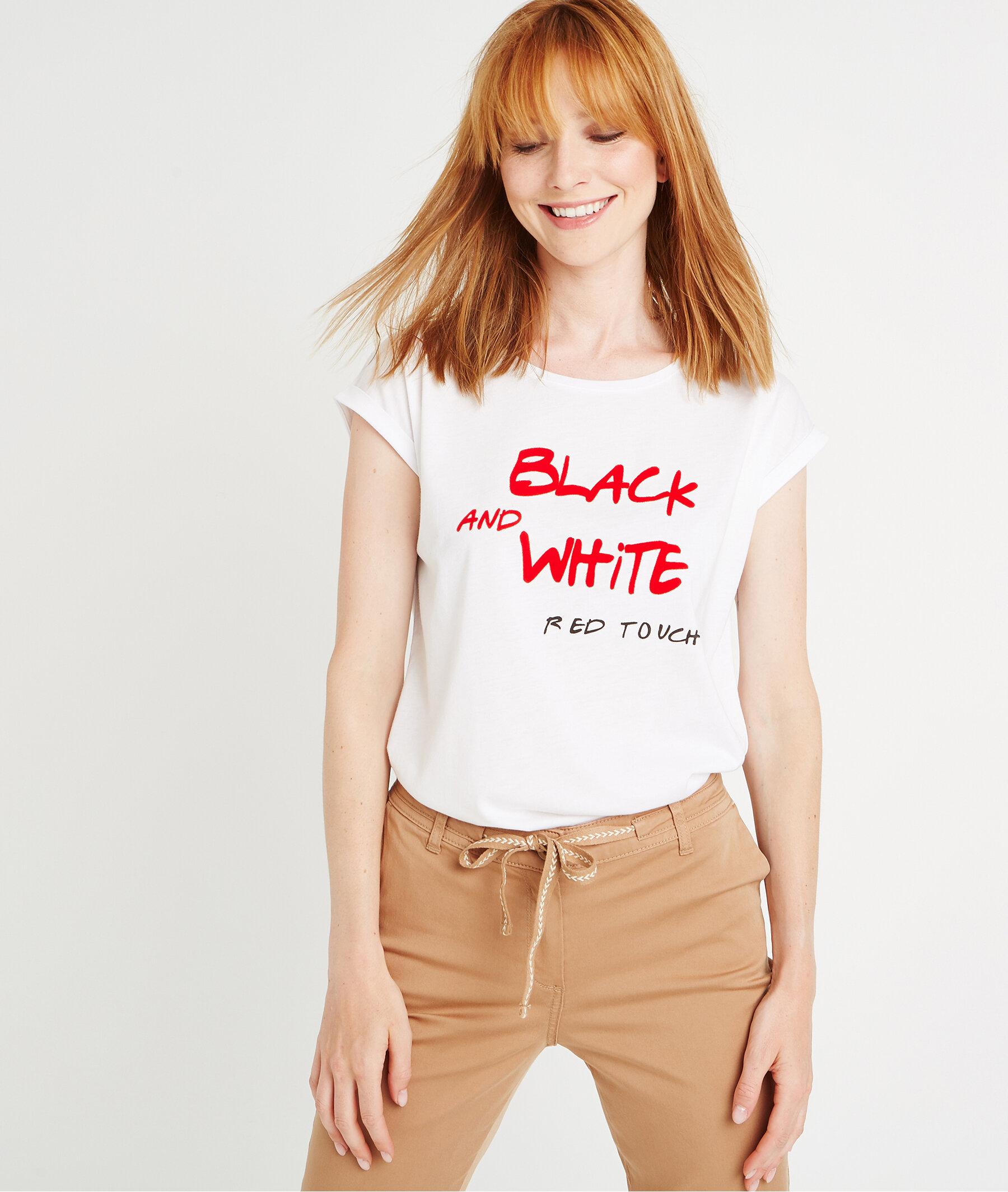 T-shirt à message touché velours ECRU