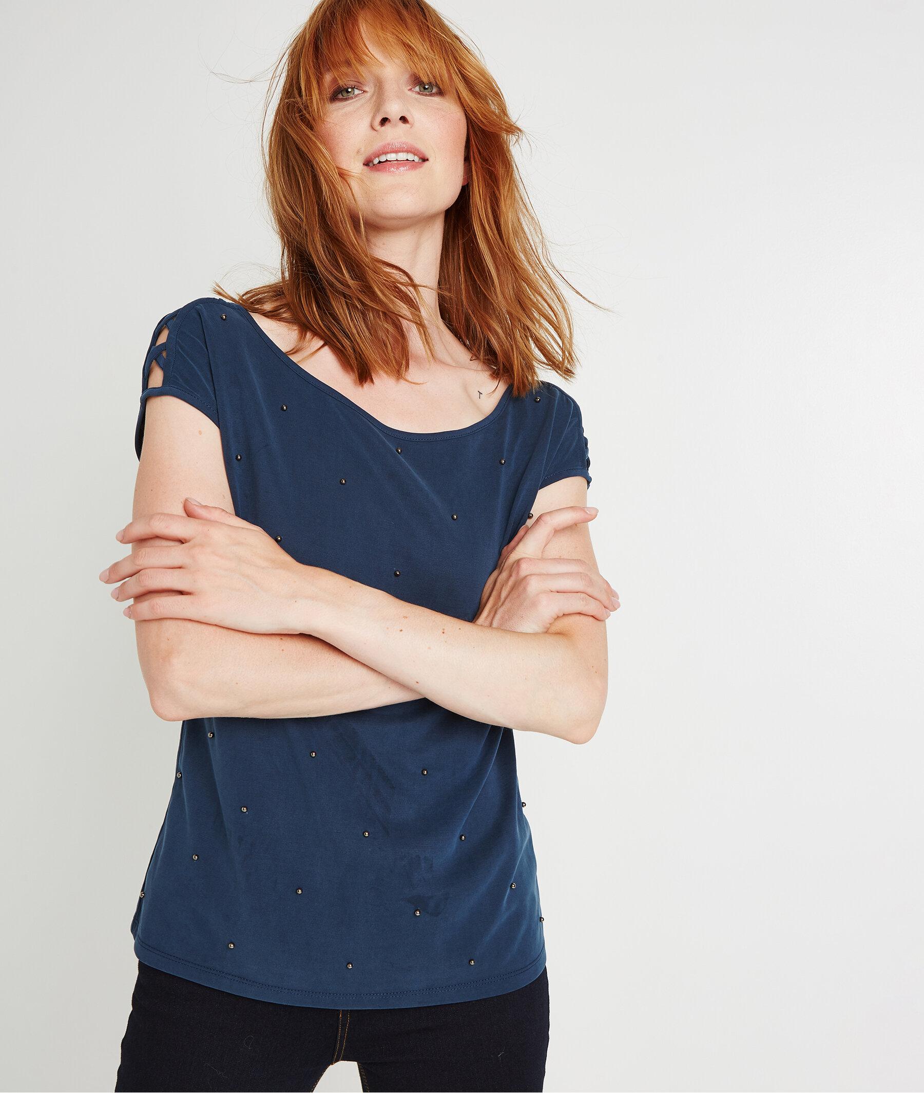 T-shirt uni à perles MARINE