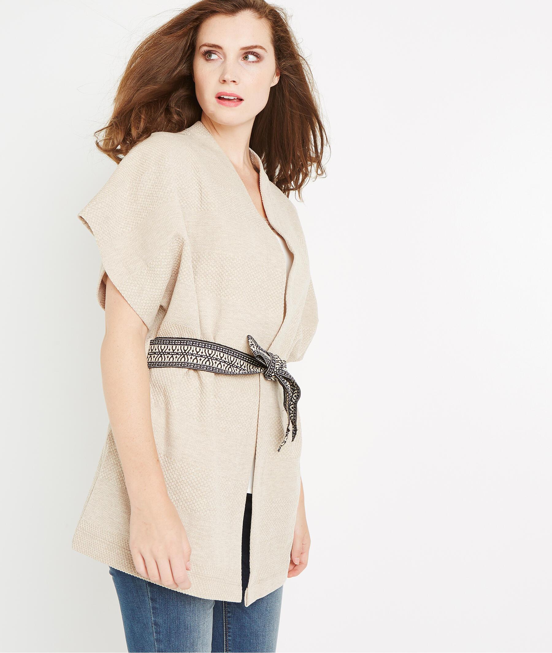 Veste kimono en maille avec ceinture BEIGE