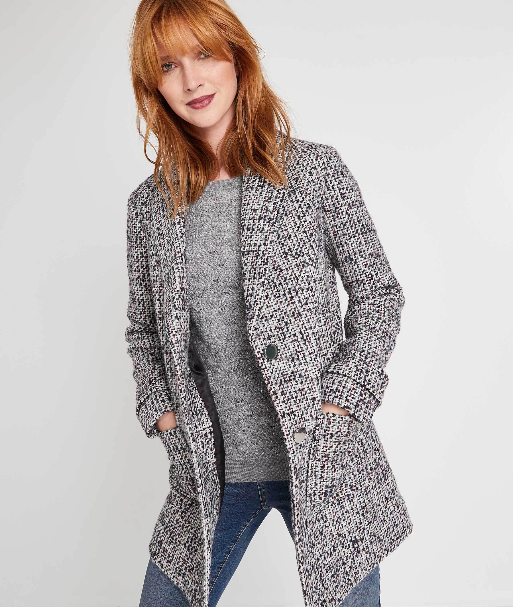 Manteau structuré gris avec laine MULTICOLORE