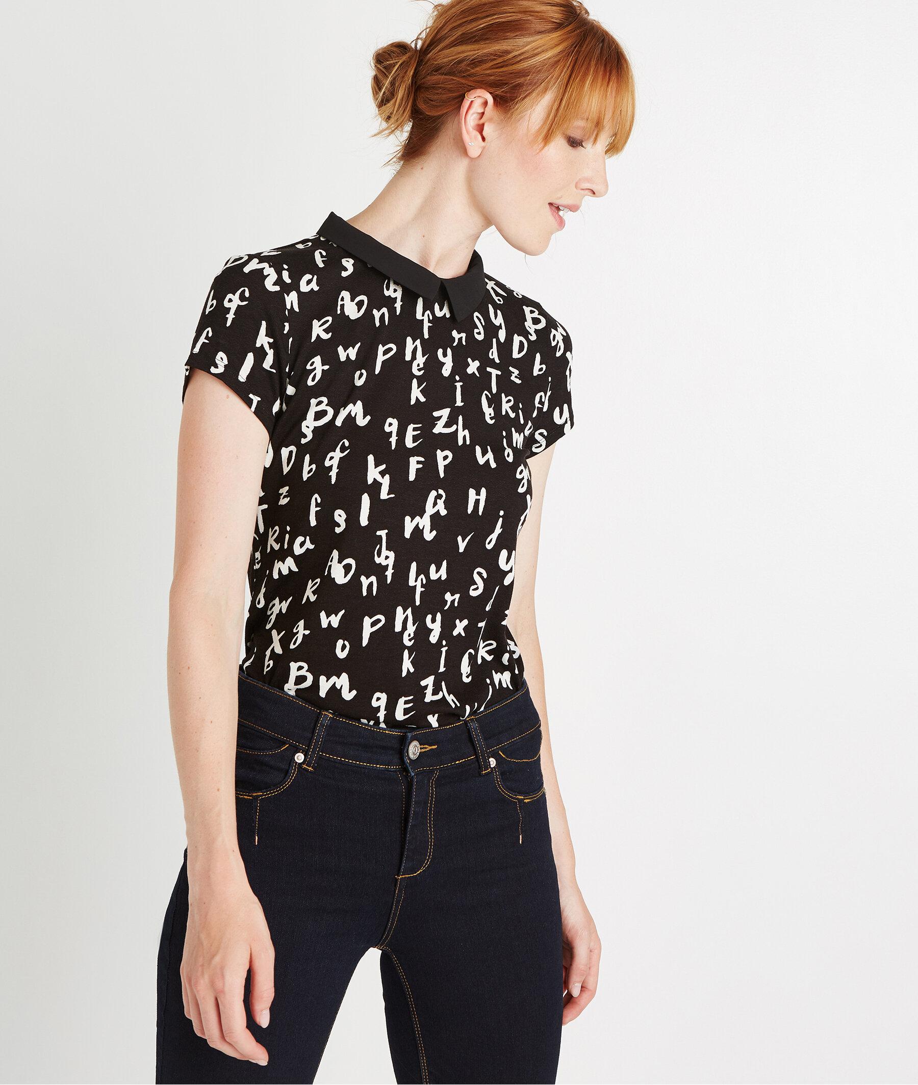 T-shirt manches courtes col claudine NOIR