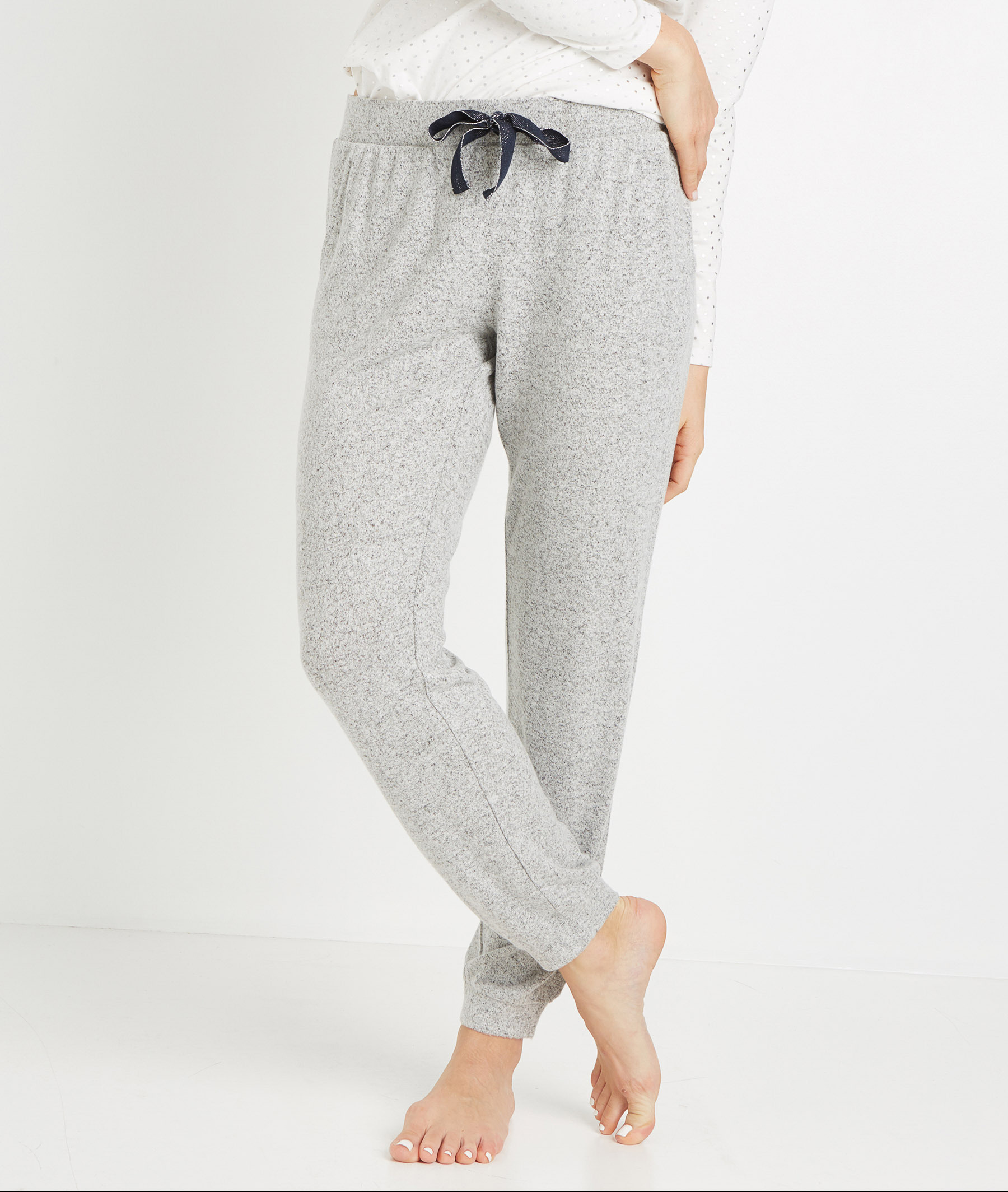 Pantalon homewear maille doudou GRIS