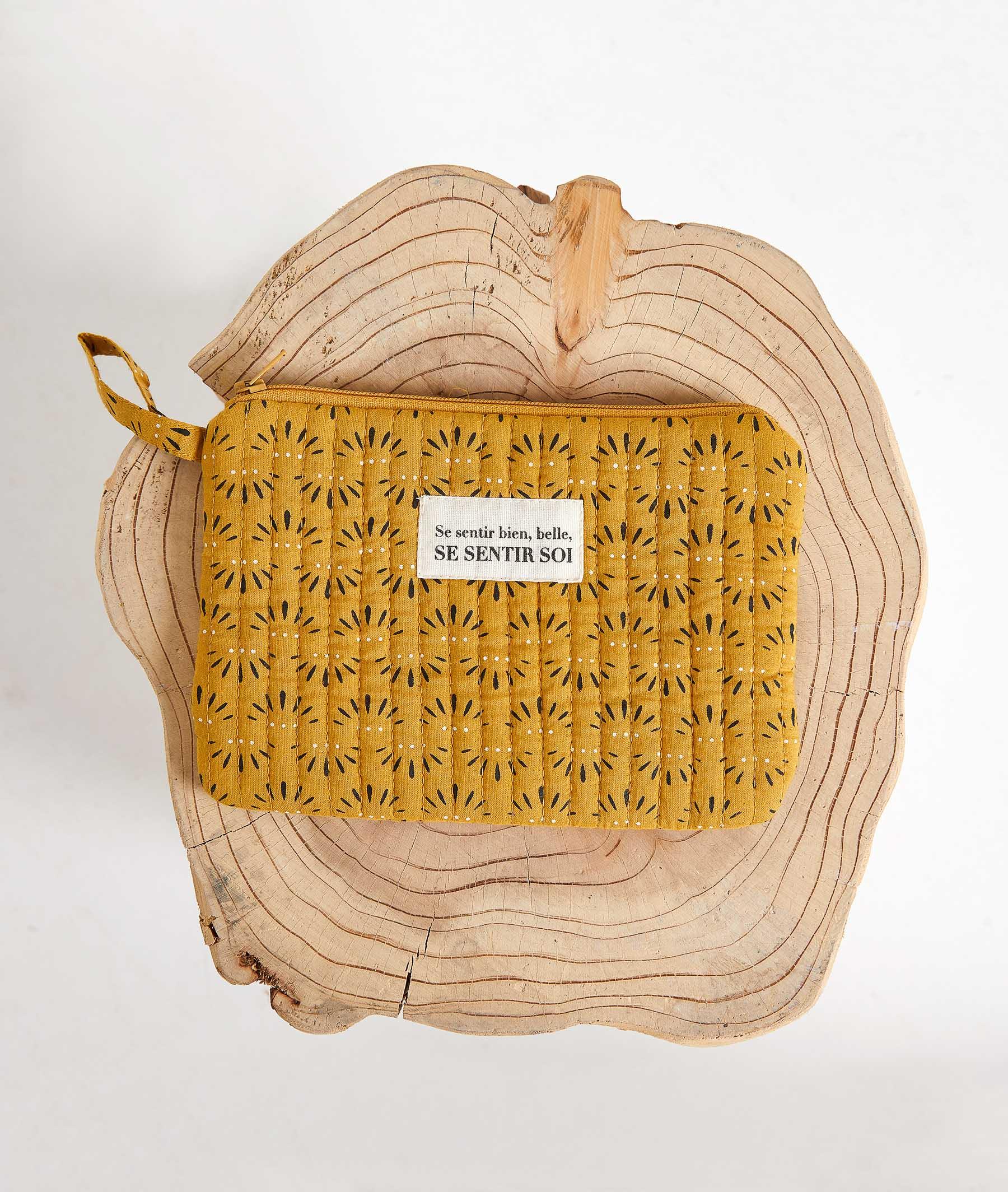 Pochette zipée en coton SAFRAN