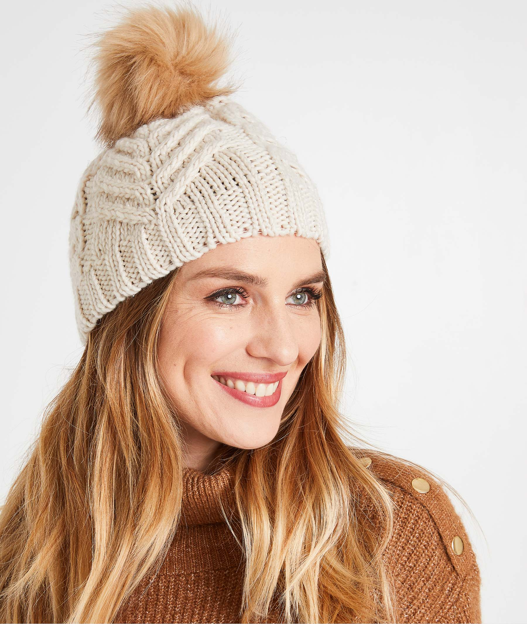 Bonnet tricot à pompons femme BEIGE