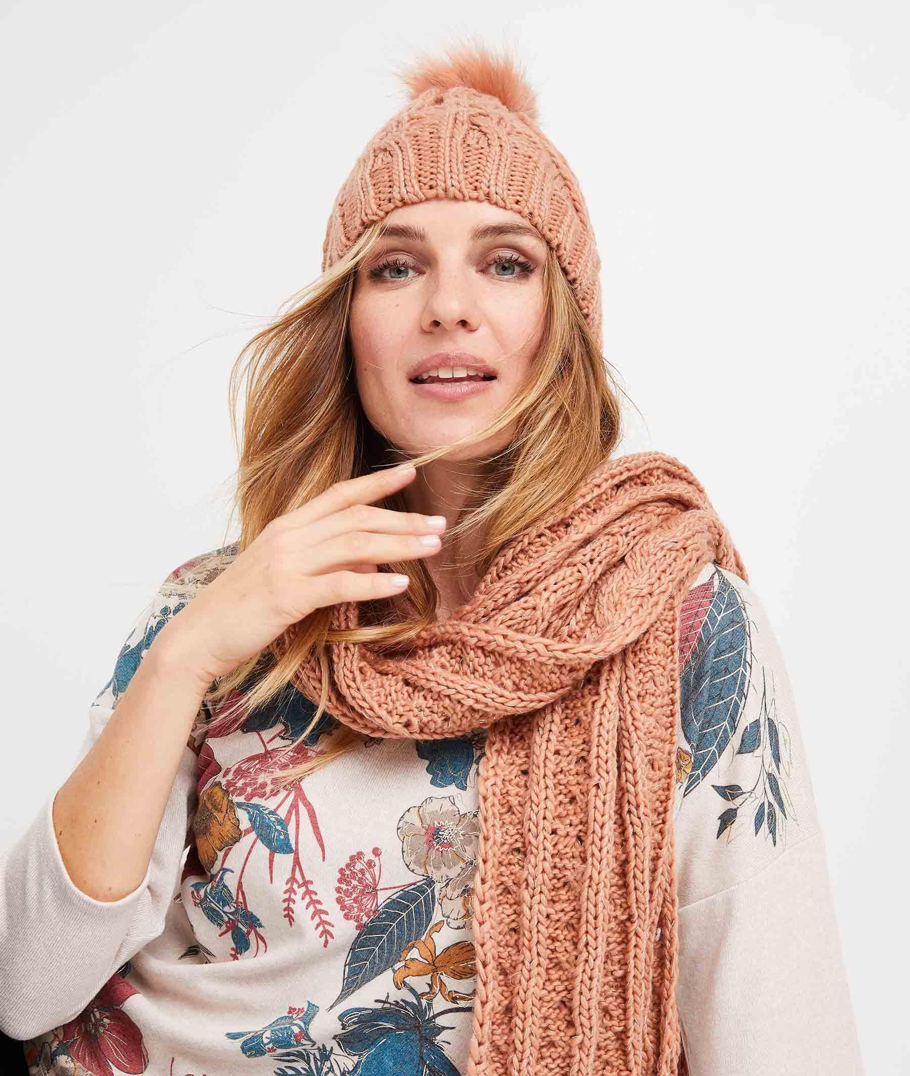 Bonnet tricot à pompons femme BLUSH