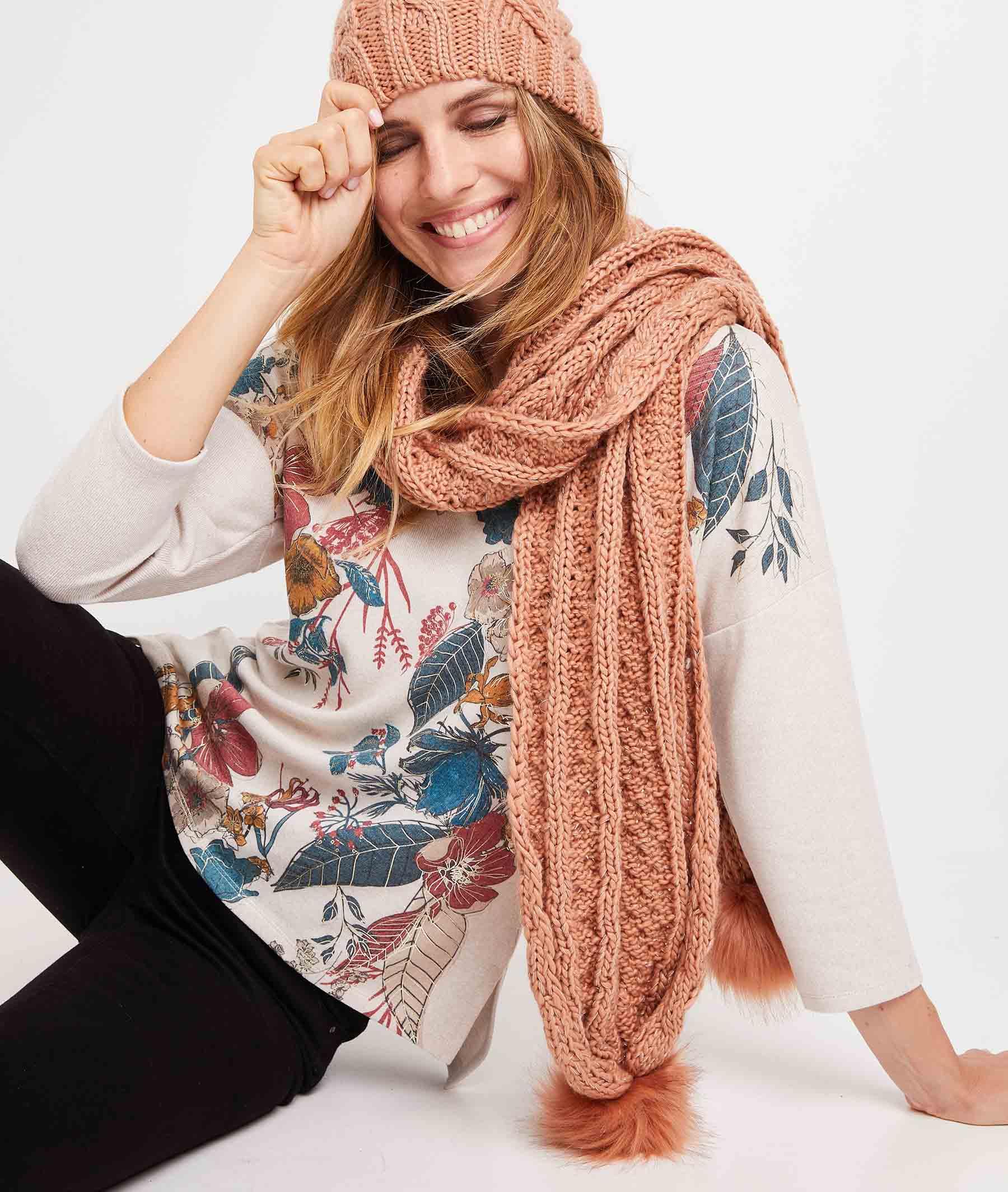 Echarpe tricot à pompons femme BLUSH