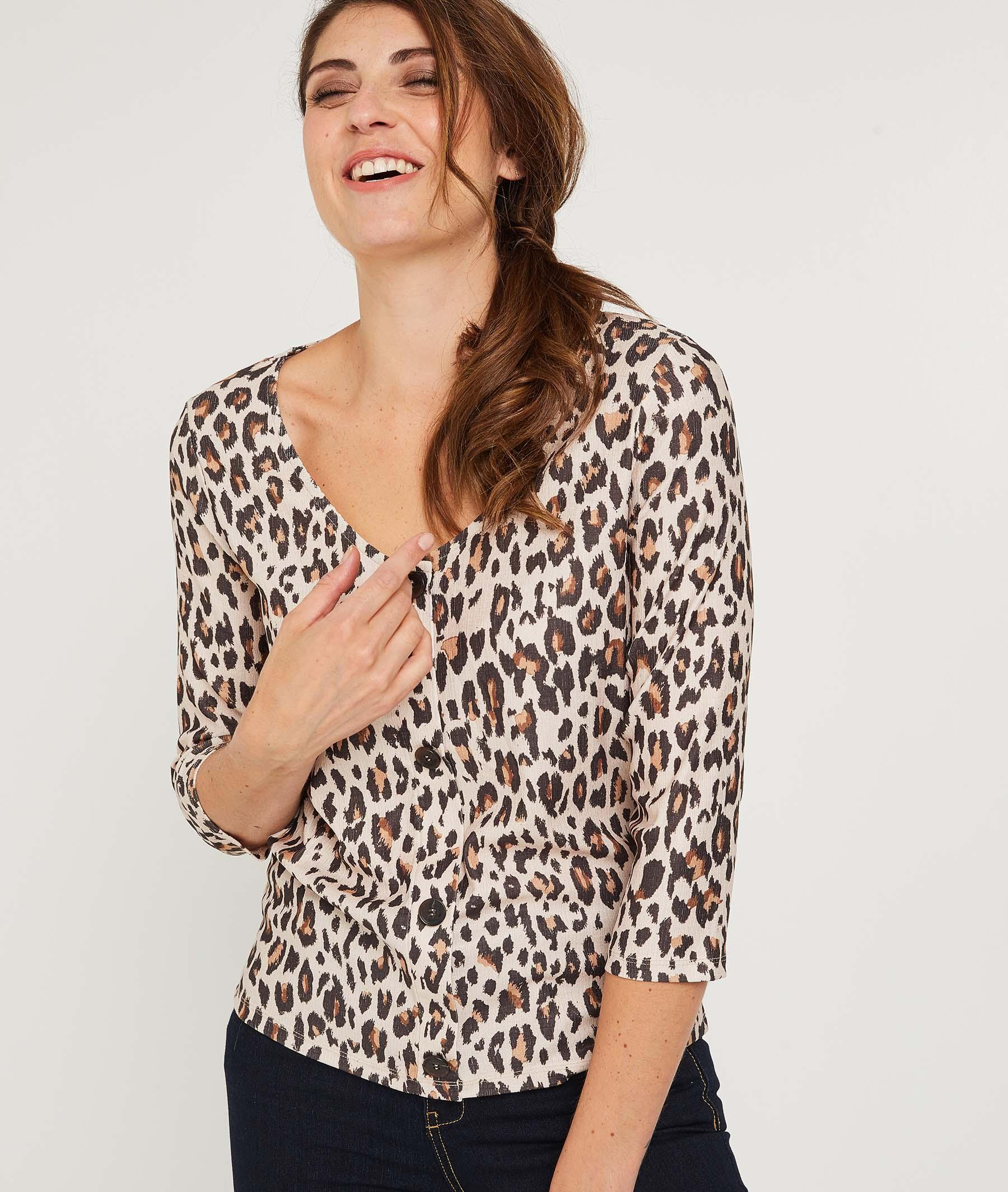 T-shirt léopard avec boutons BEIGE