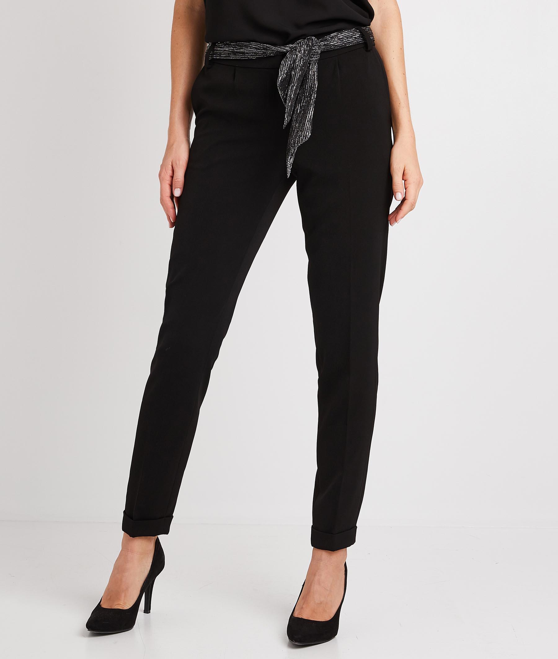 Pantalon fluide noir femme NOIR