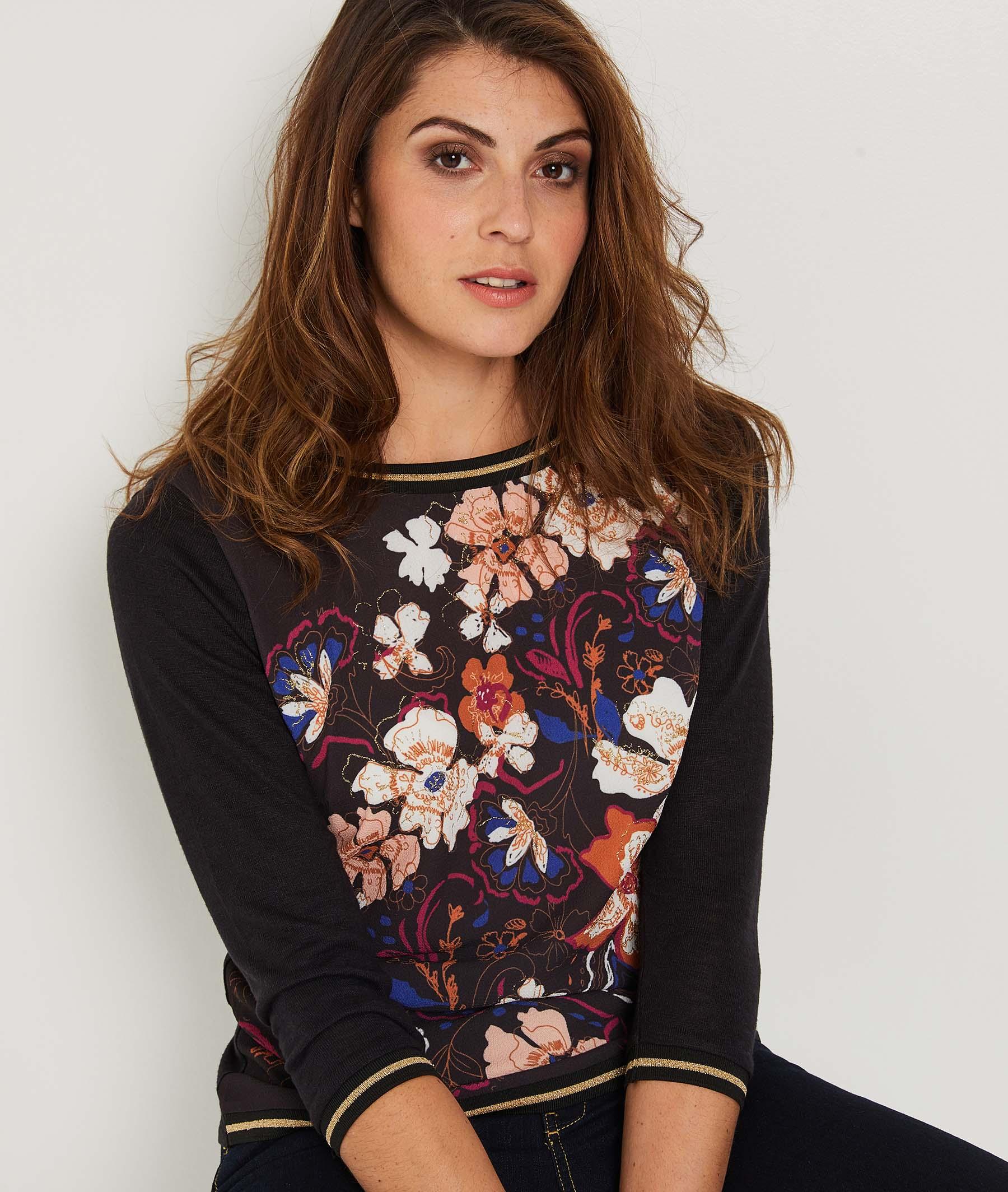 T-shirt manches 3/4 imprimé fleurs NOIR