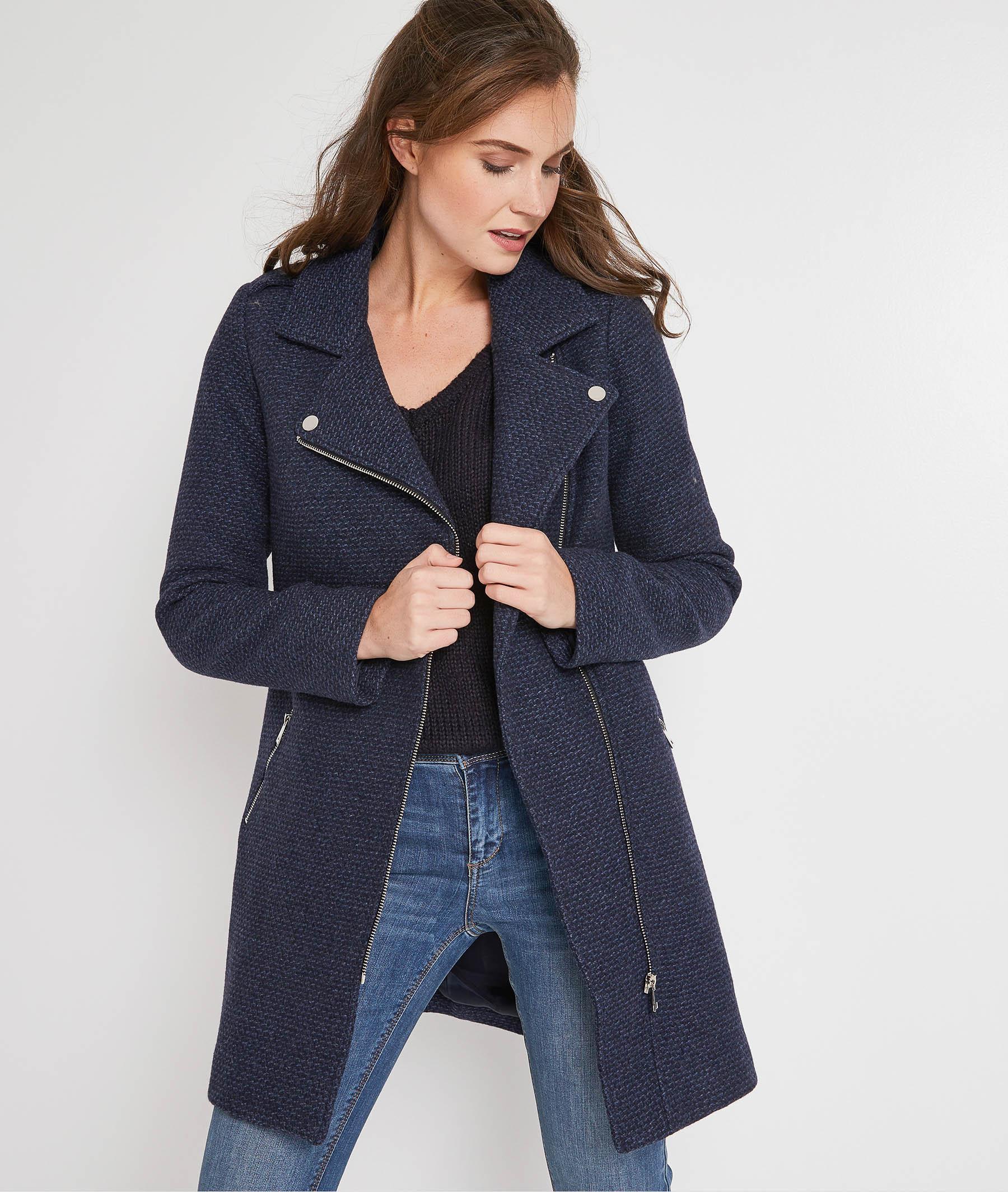 Manteau zippe en laine MARINE