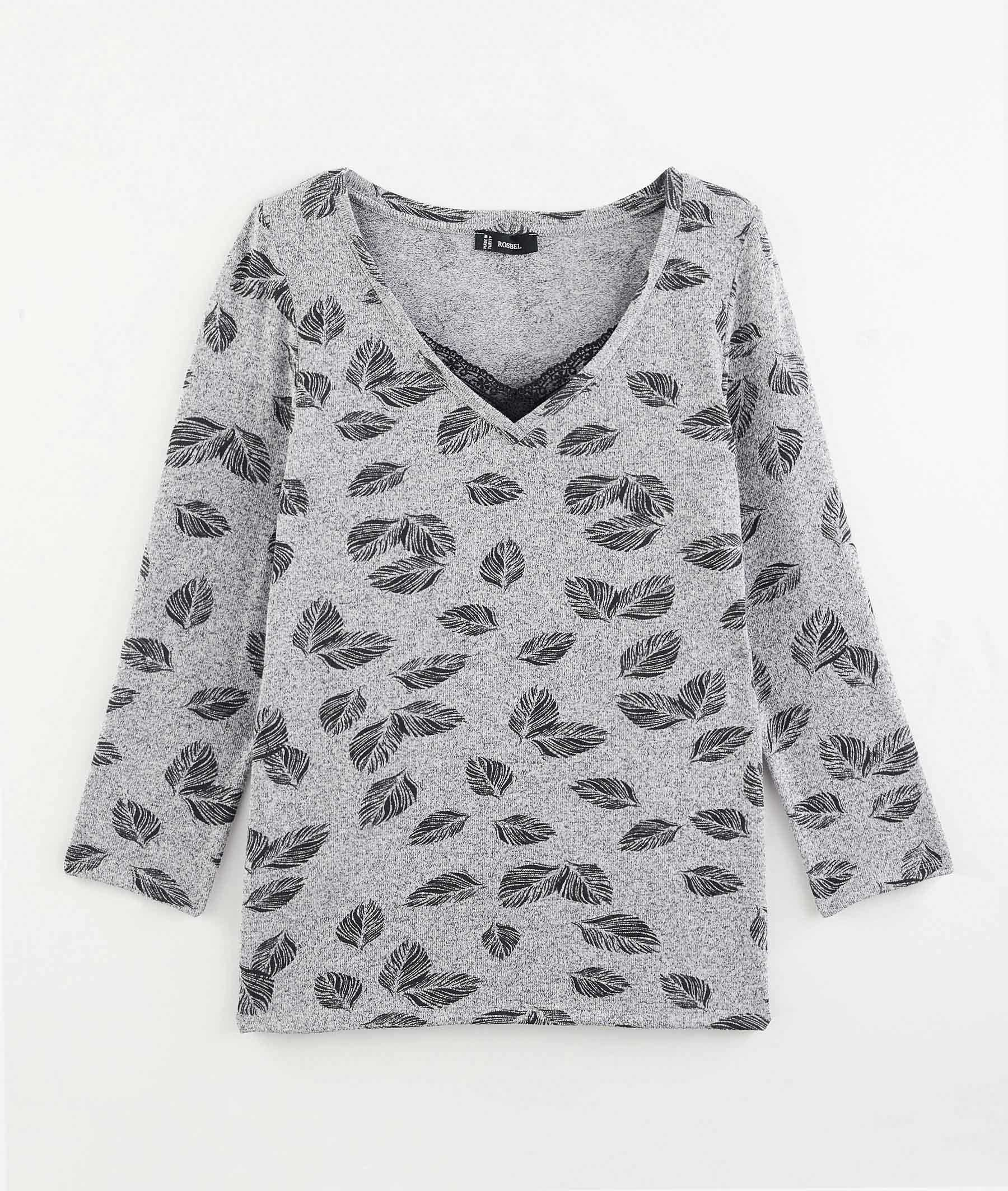 T-shirt imprimé plumes avec dentelle GRIS