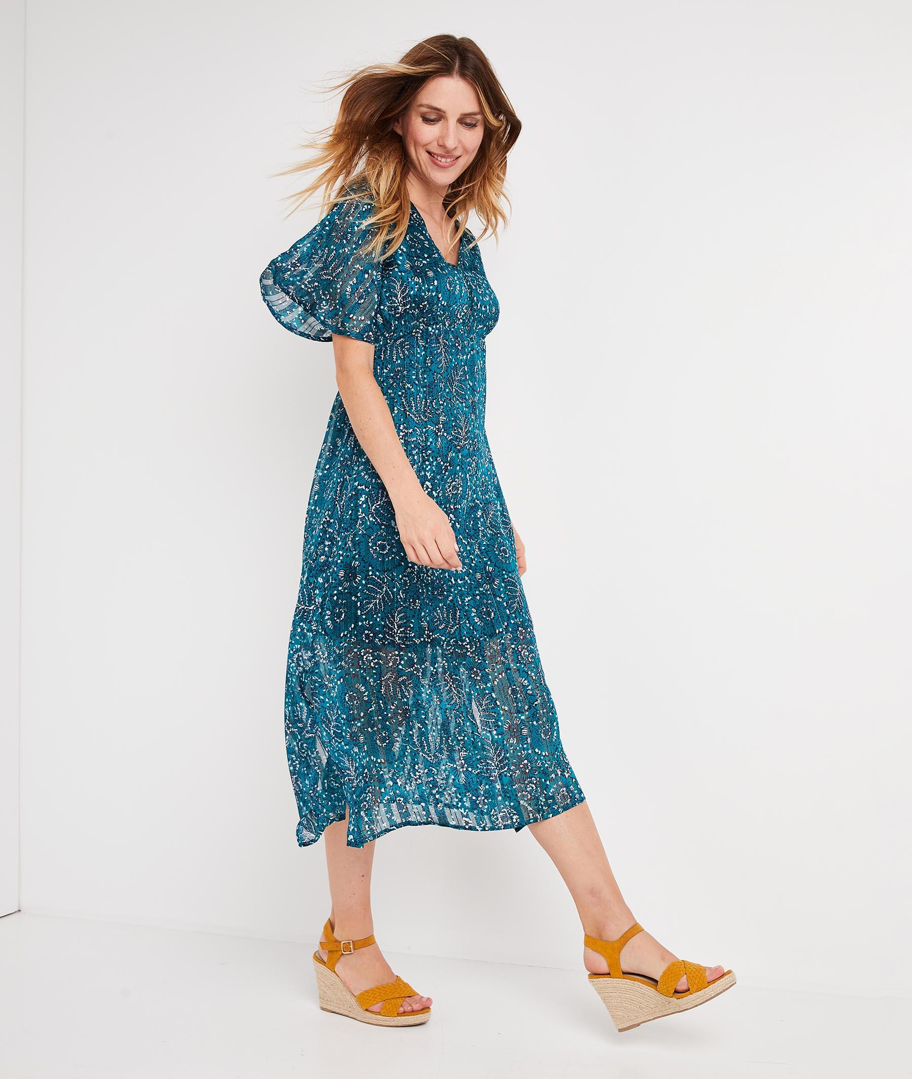 Robe longue bleue imprimée VERT