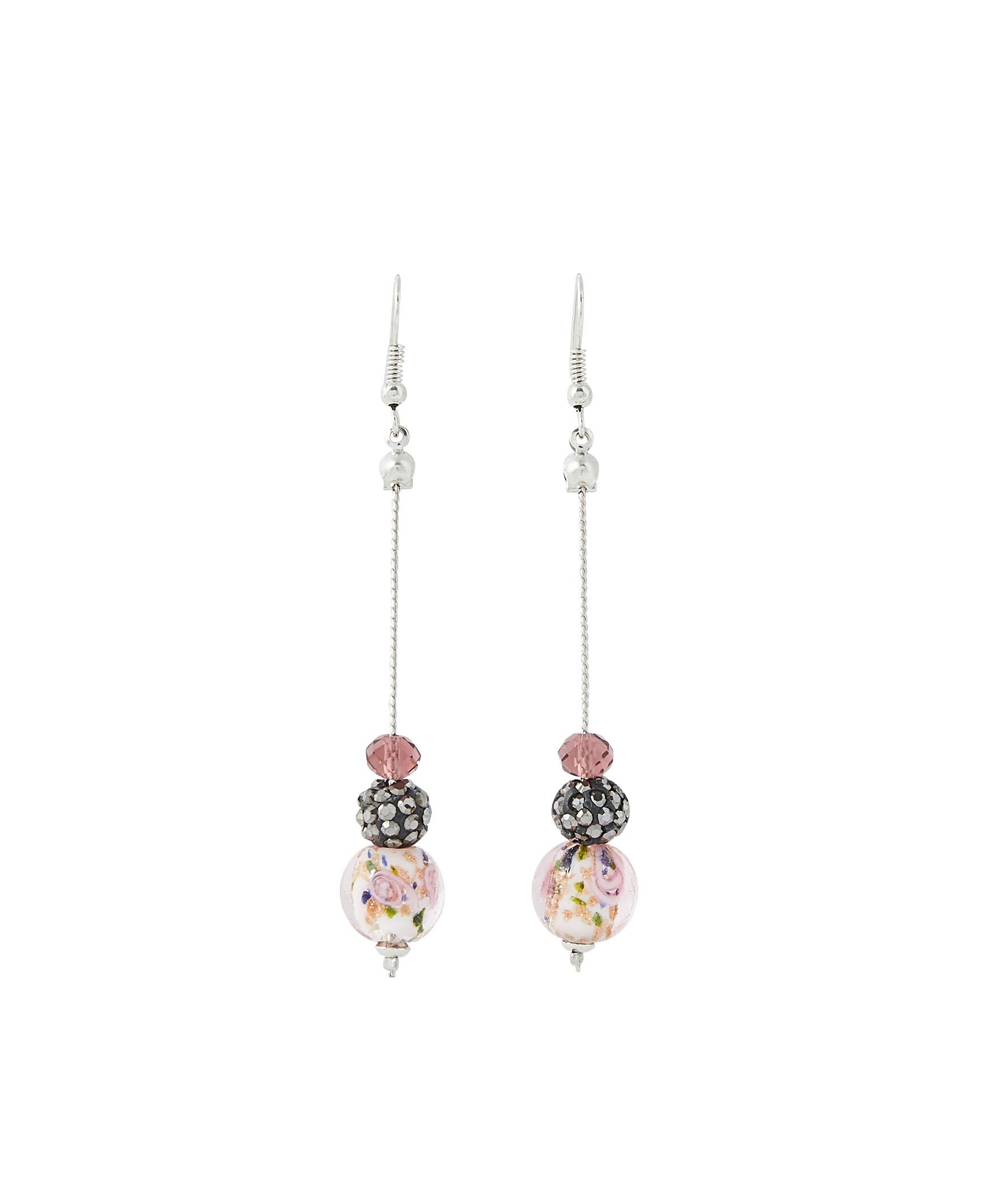Boucles d'oreilles pendantes perles NOIR
