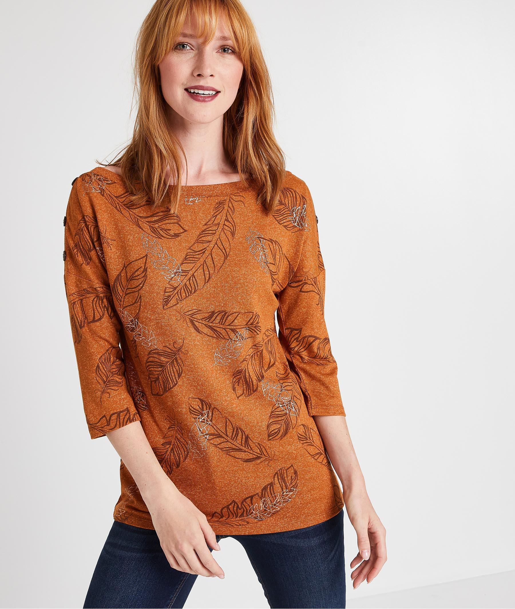 T-shirt caramel imprimé plumes CARAMEL