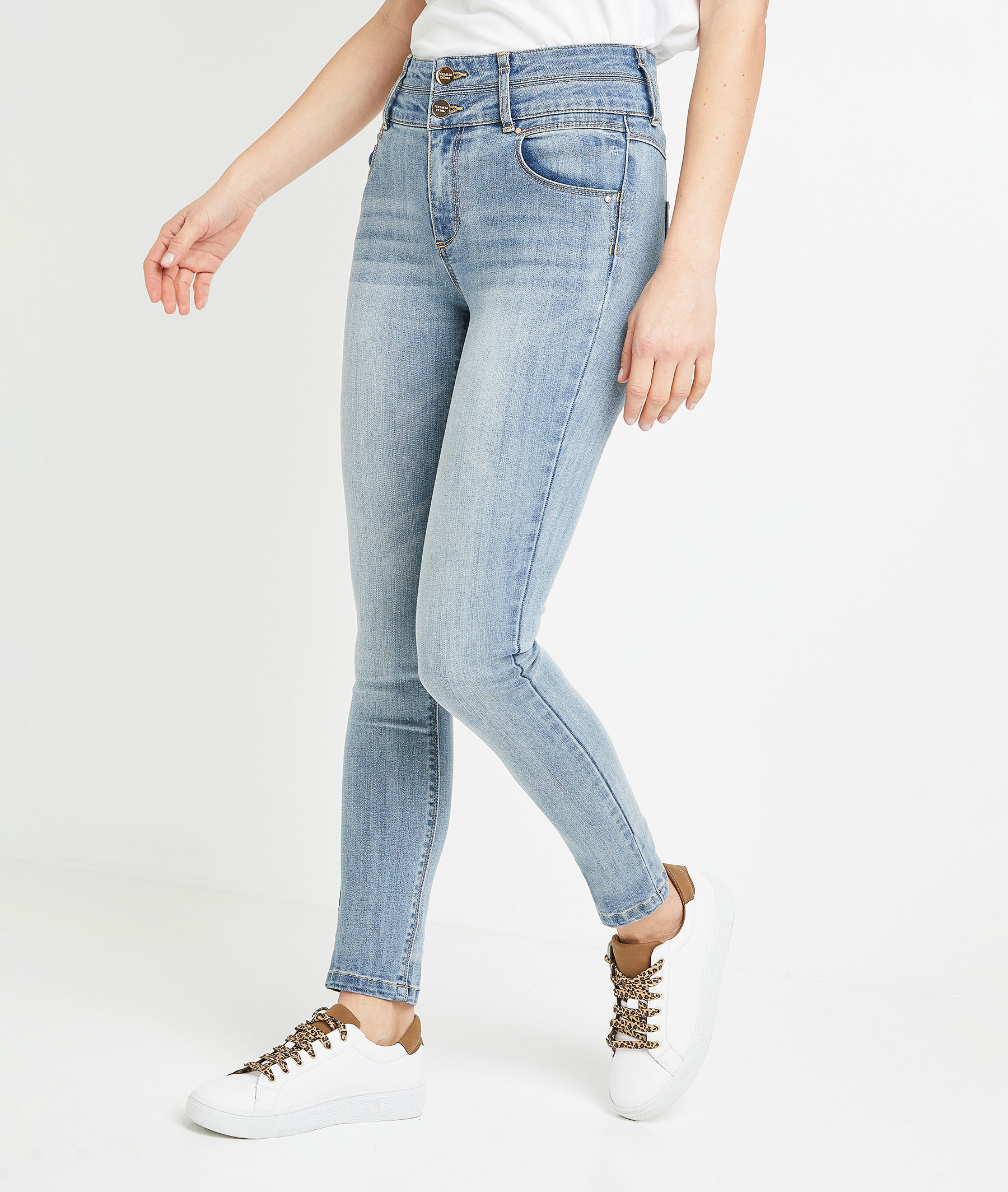 Jean slim taille haute femme LIGHT STONE