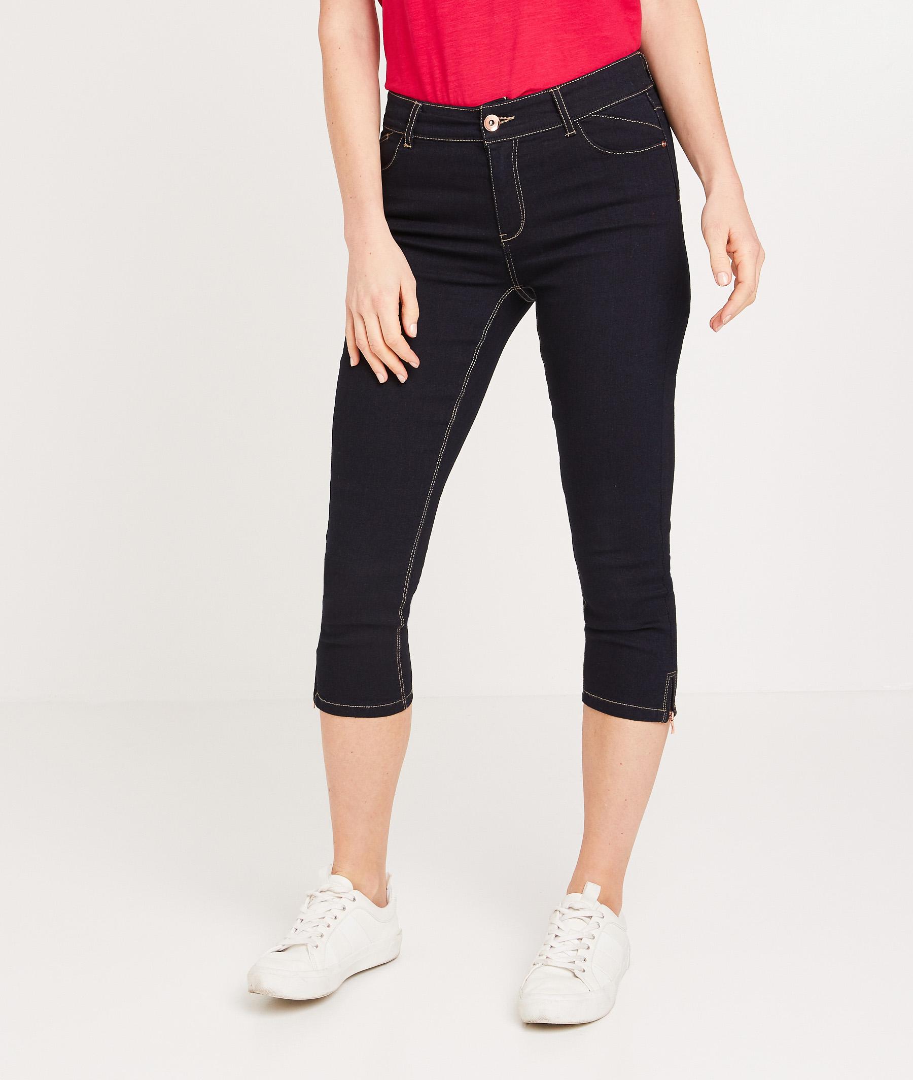 Corsaire en jean femme BLUE BLACK