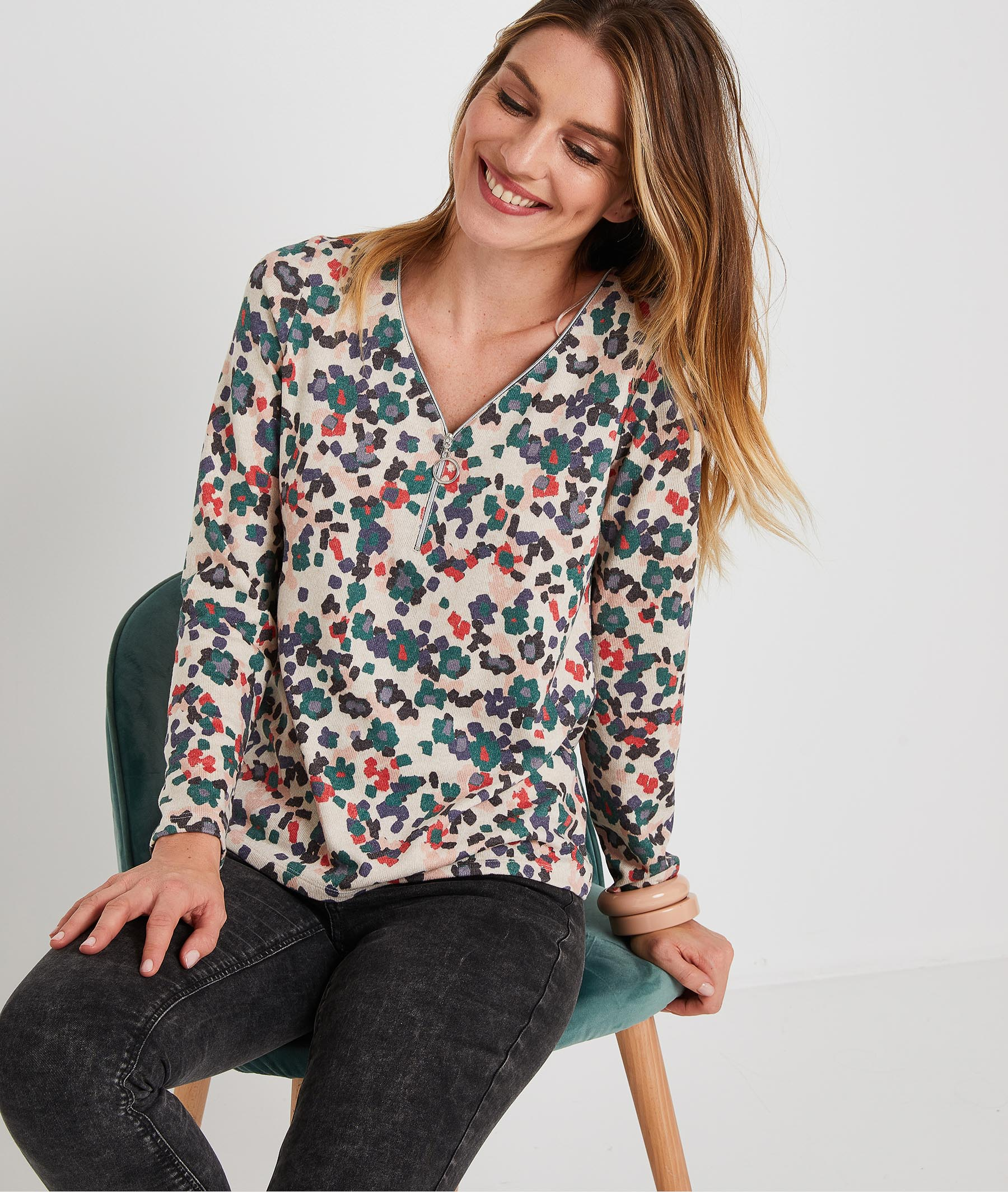 T-shirt coloré et zippé femme BEIGE