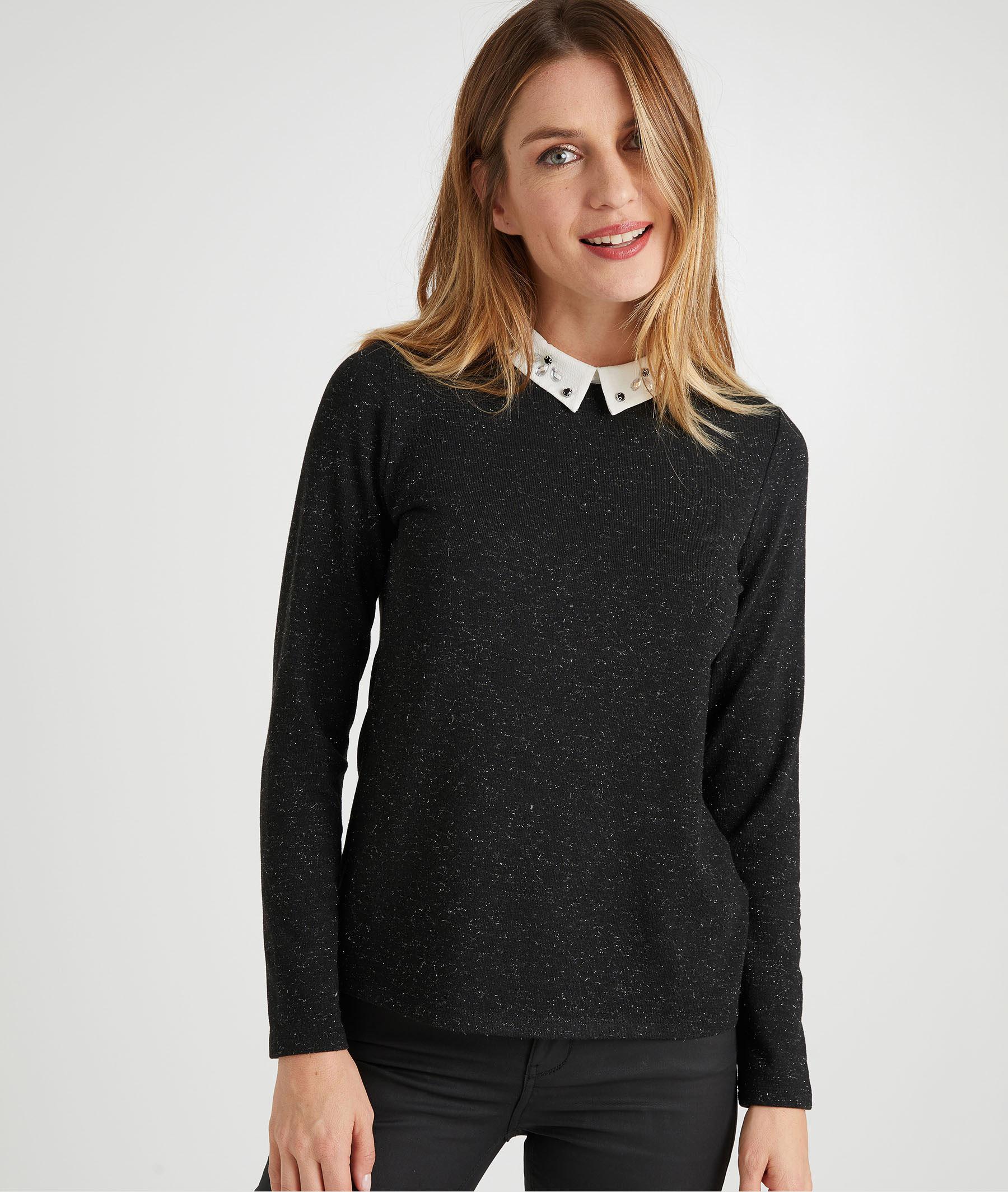 T-shirt noir col chemise femme GRIS