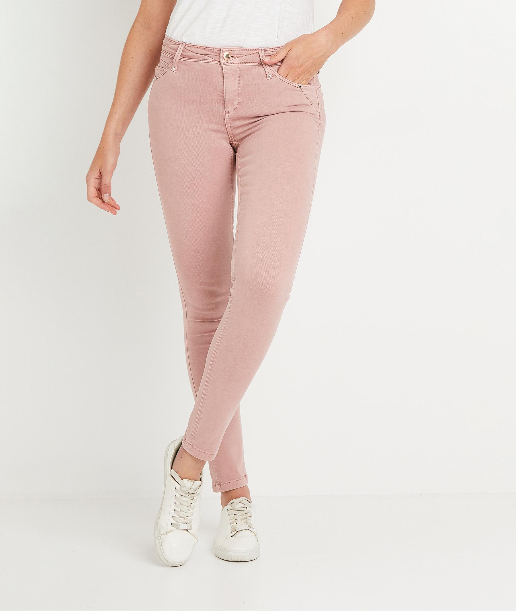 Pantalon slim push-up de couleur femme ROSE
