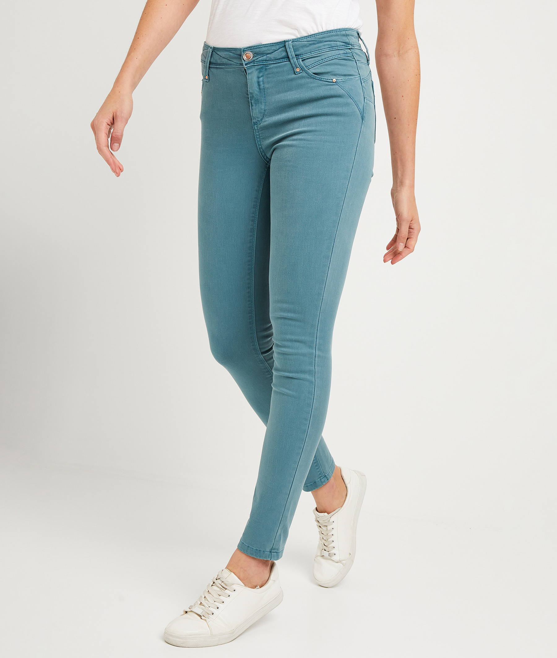 Pantalon slim push-up de couleur femme CELADON