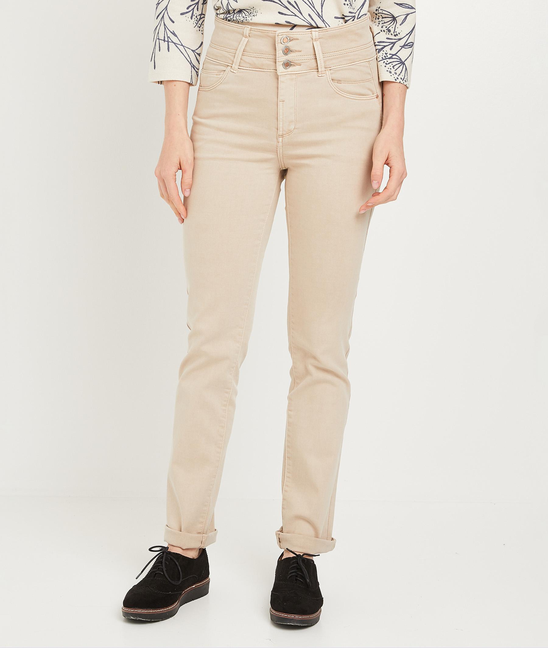 Pantalon droit taille haute uni femme BEIGE