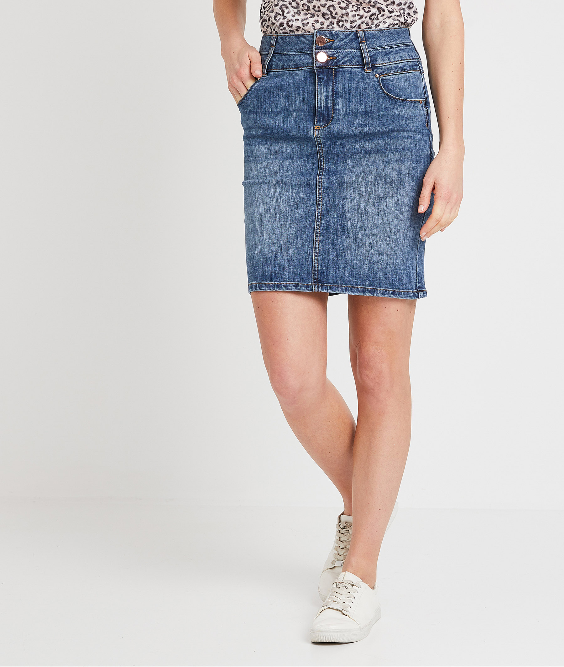 Jupe en jean taille haute femme STONE