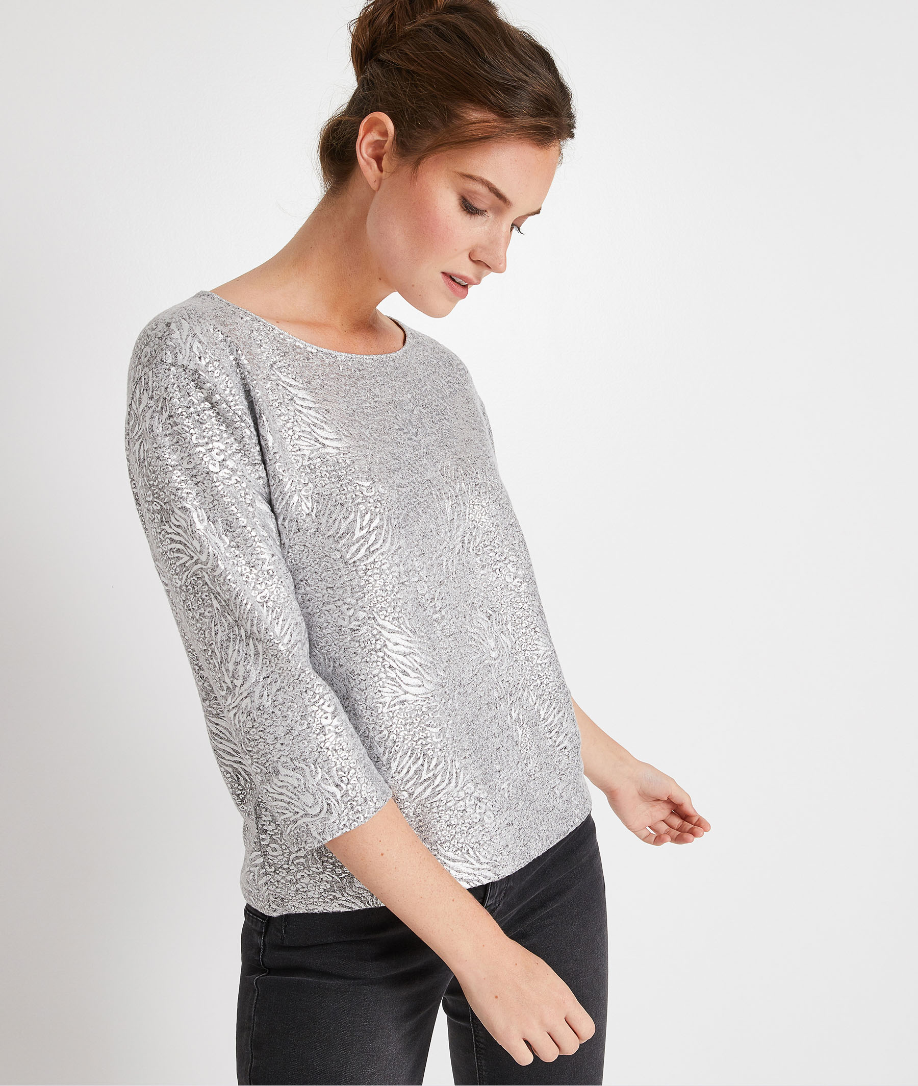 T-shirt brillant femme GRIS