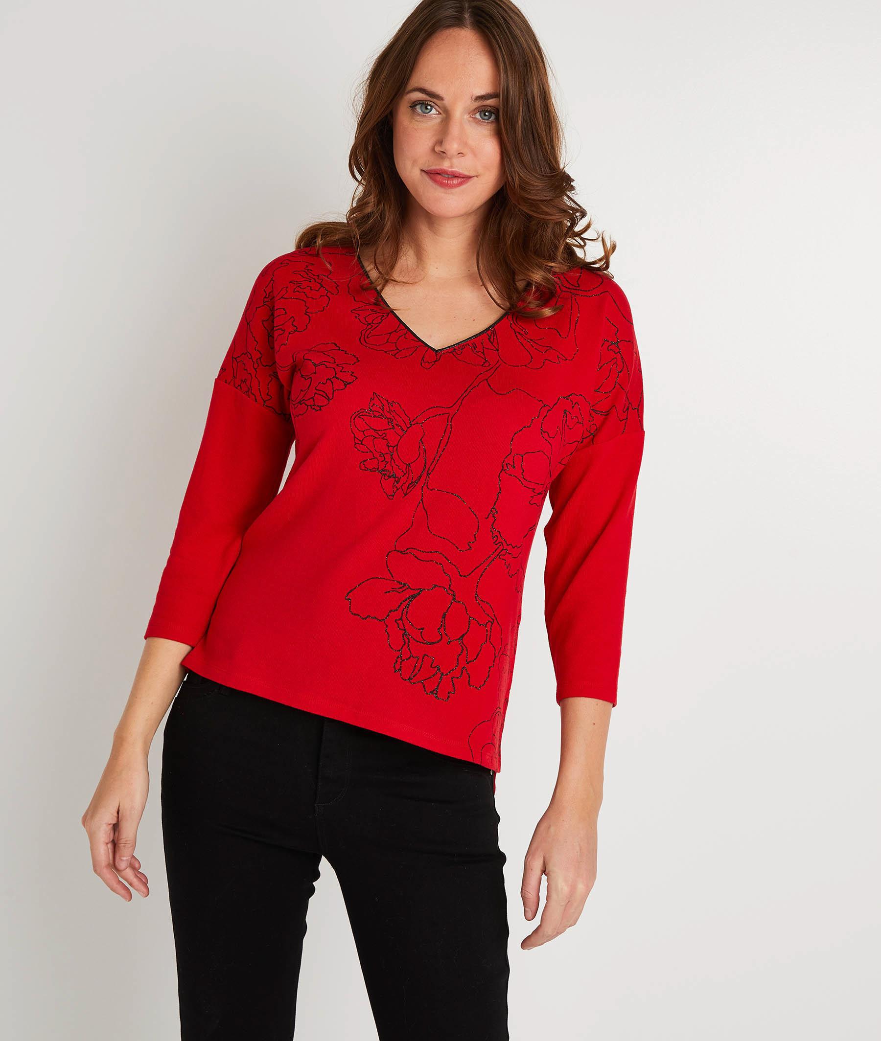 T-shirt rouge fleuri femme ROUGE