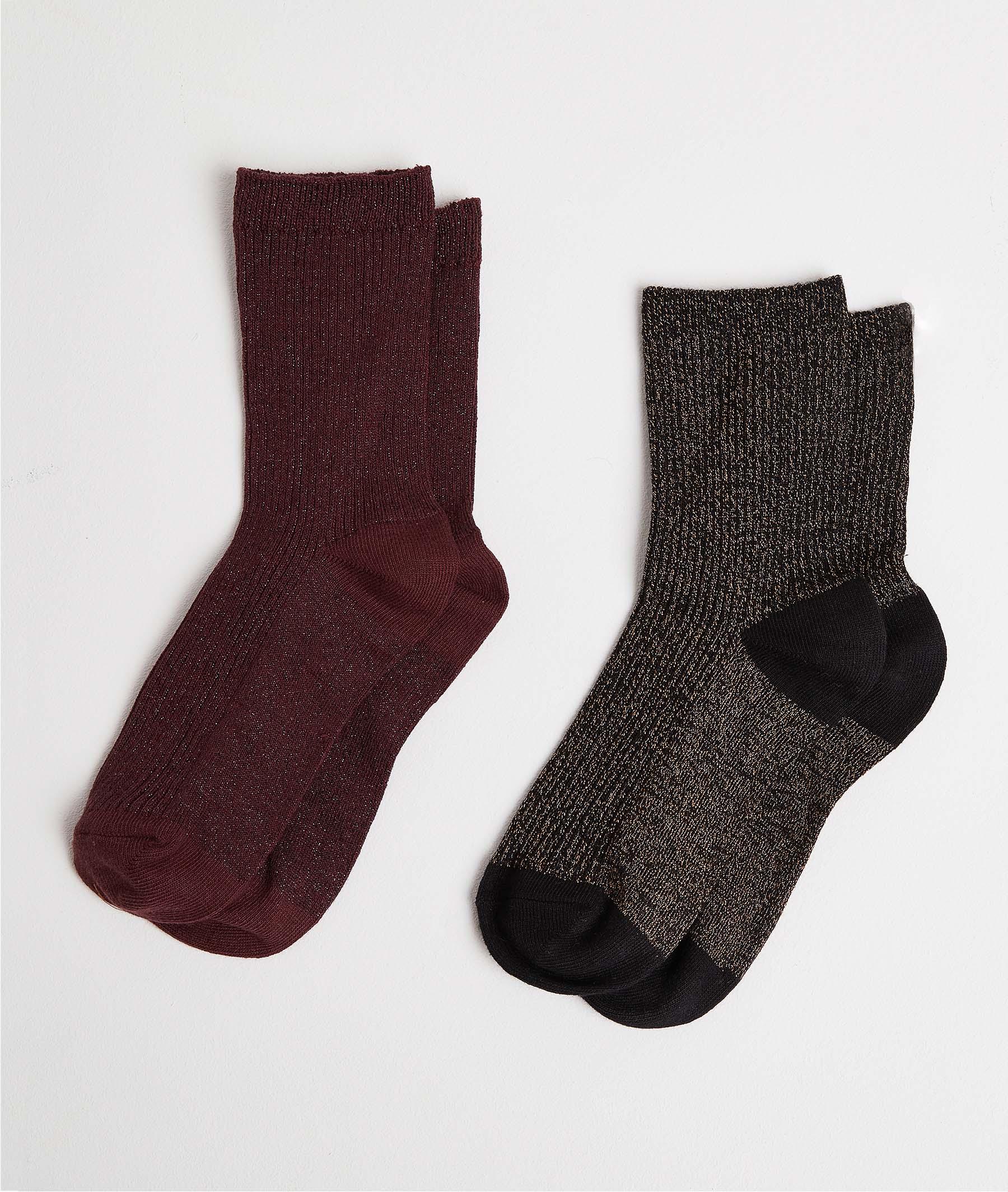 Lot de deux paires de chaussettes femme NOIR