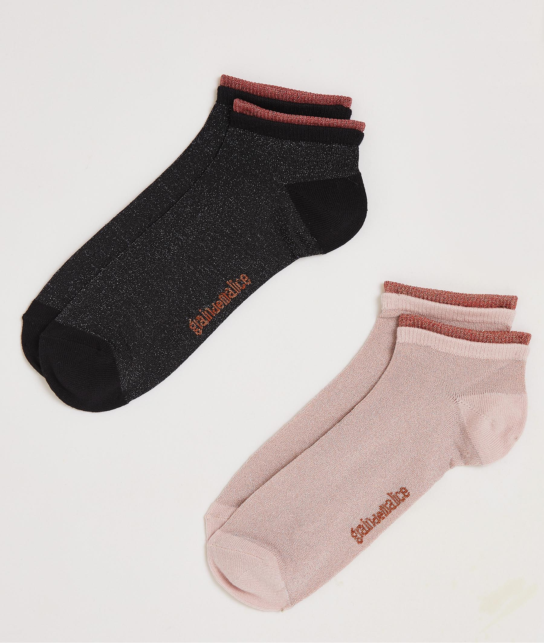 Lot de deux paires de socquettes femme ROSE