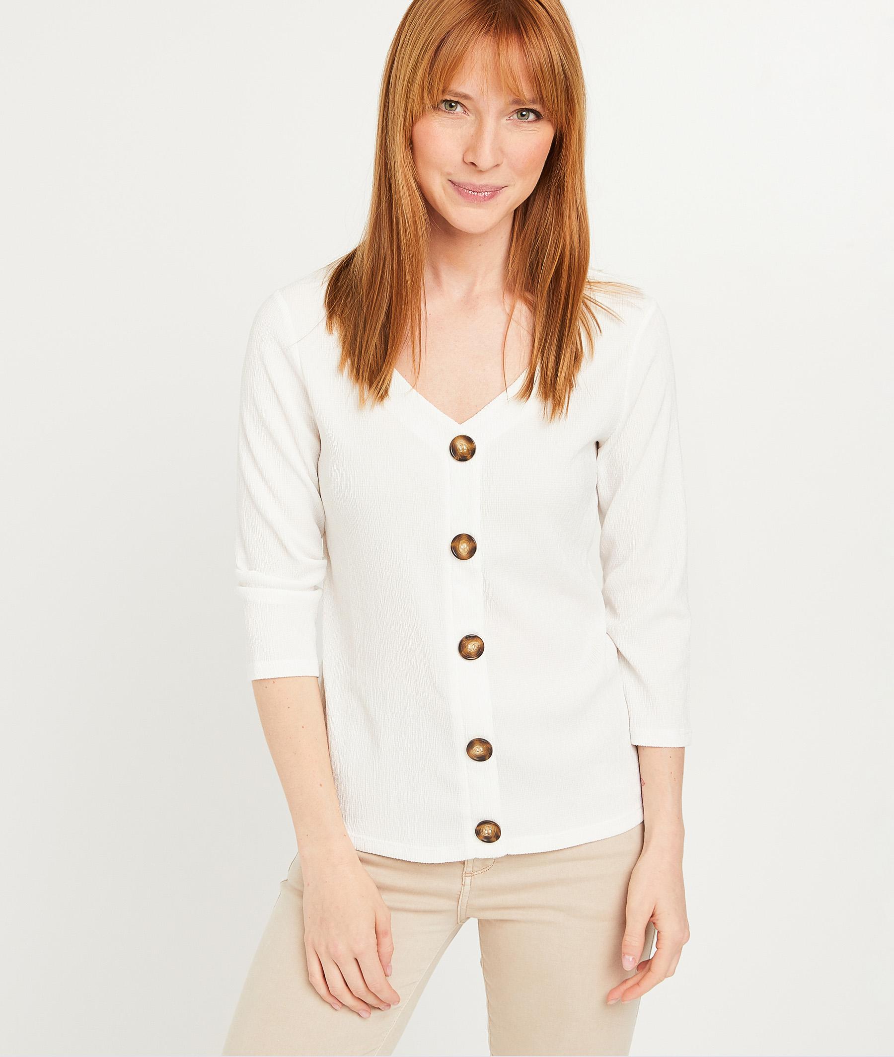 T-shirt froissé femme ECRU