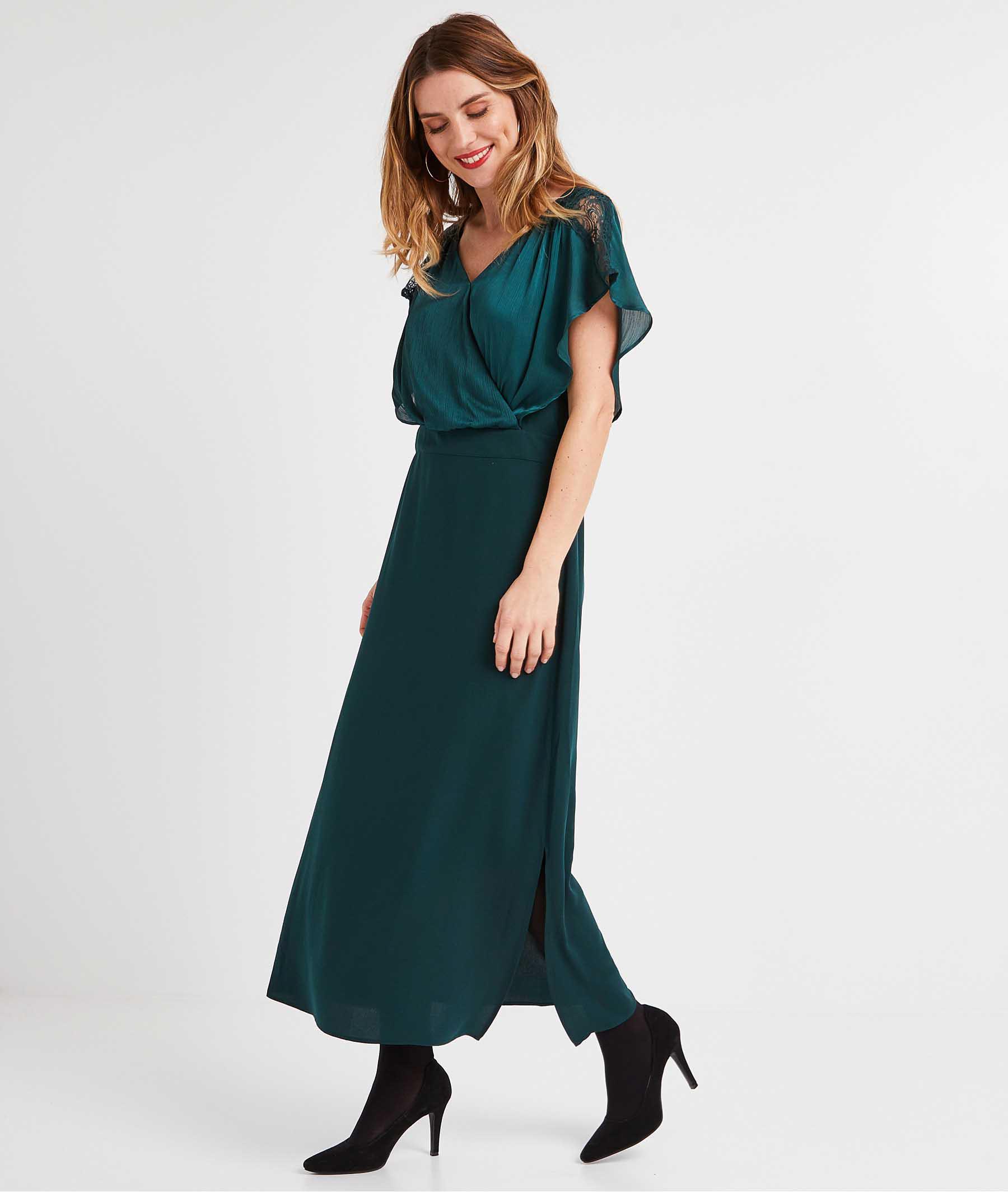 Robe longue verte femme VERT