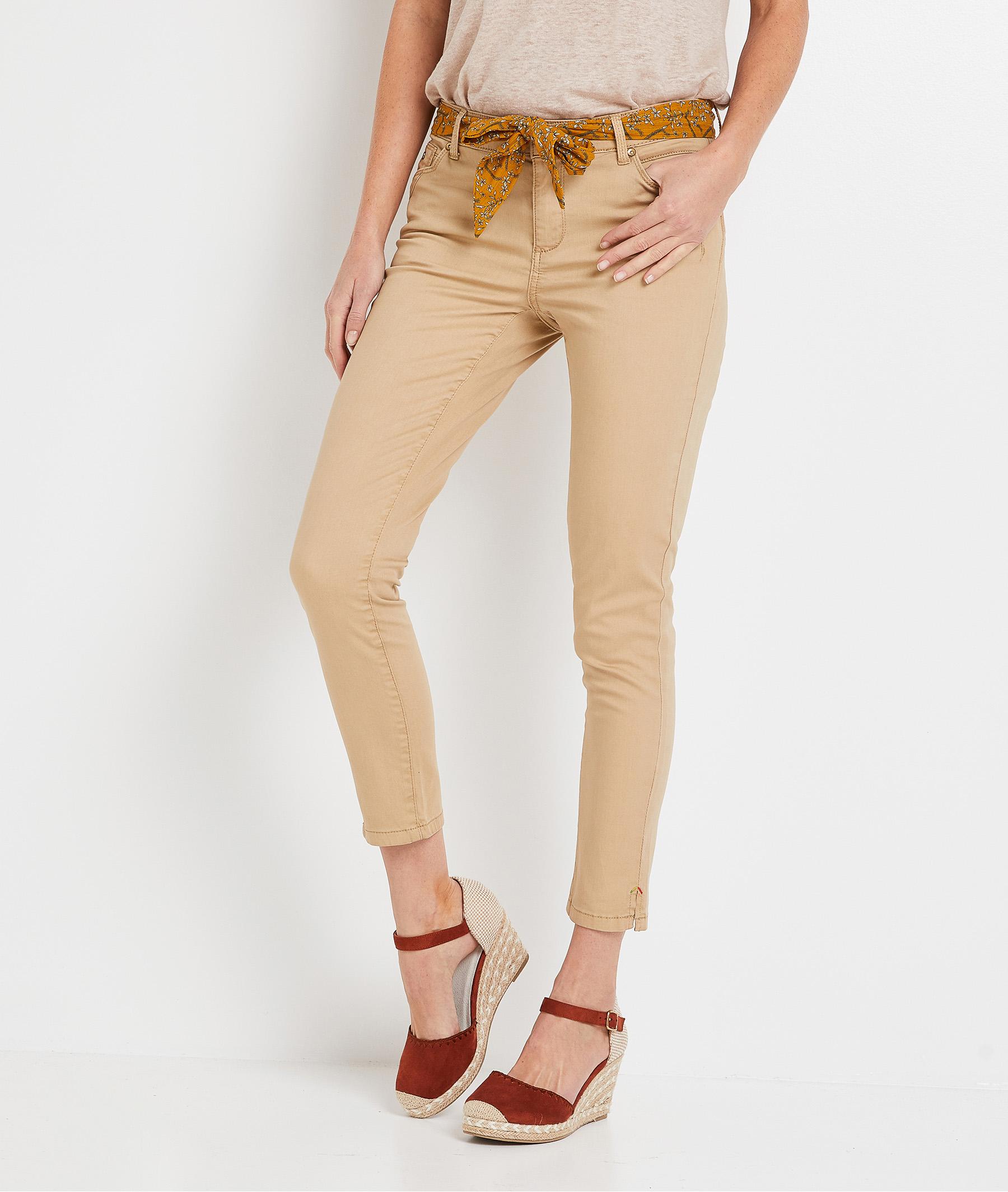 Pantalon raccourci de couleur femme MASTIC