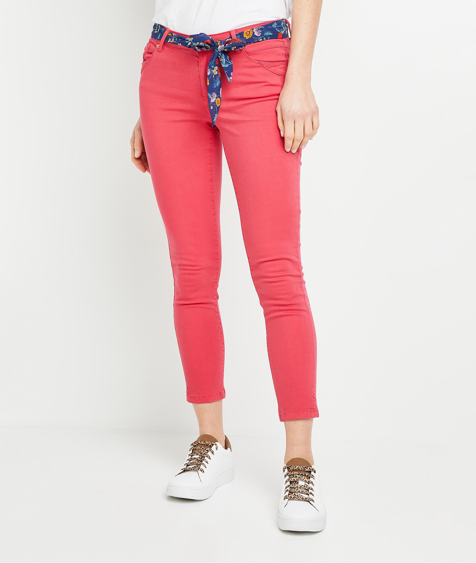 Pantalon raccourci de couleur femme PINK