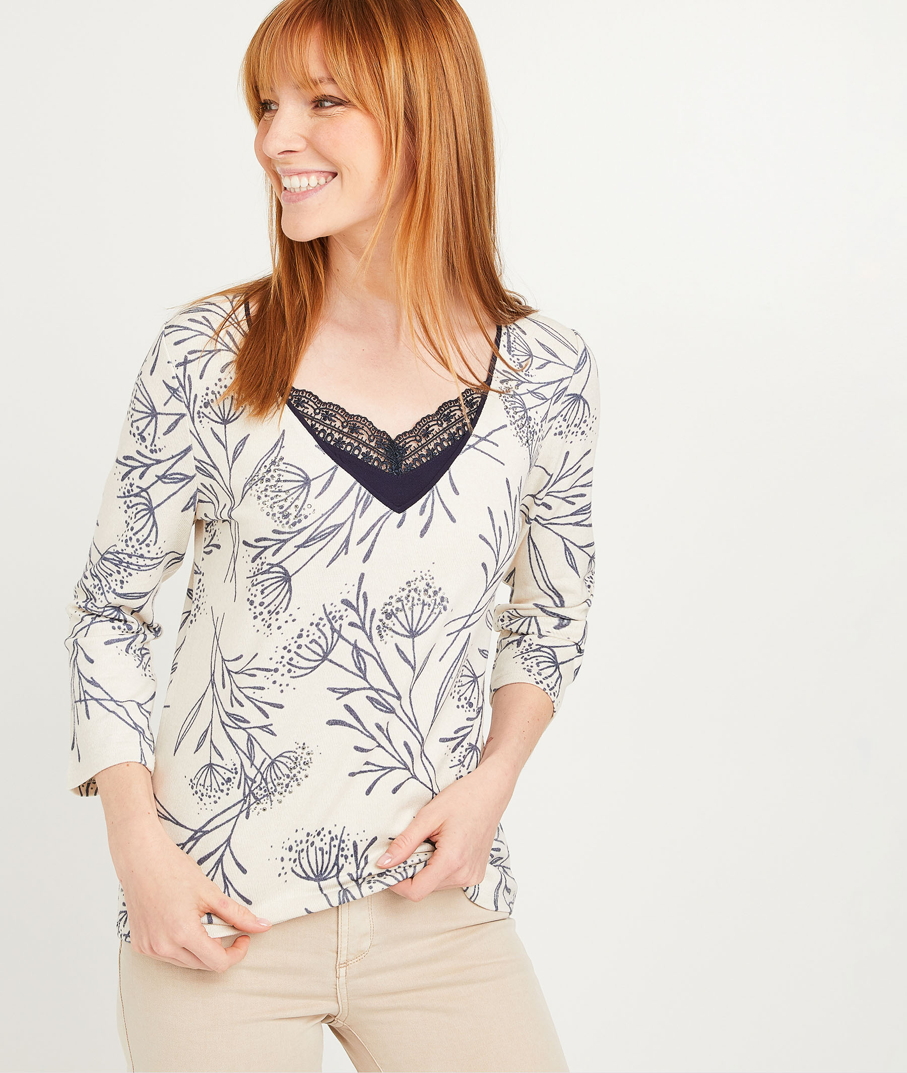 T-shirt imprimé avec dentelle femme BEIGE
