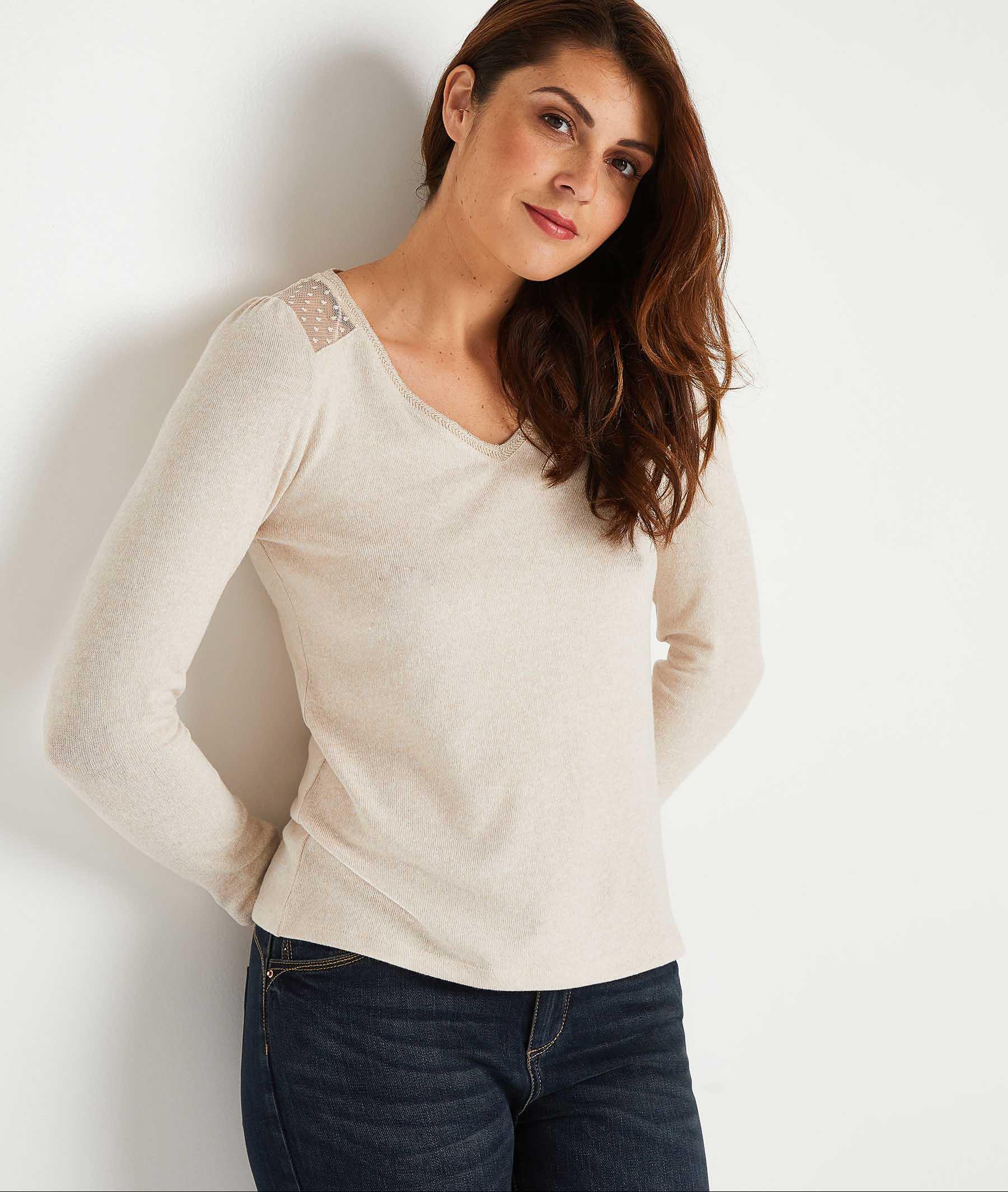 T-shirt uni à plumetis femme BEIGE