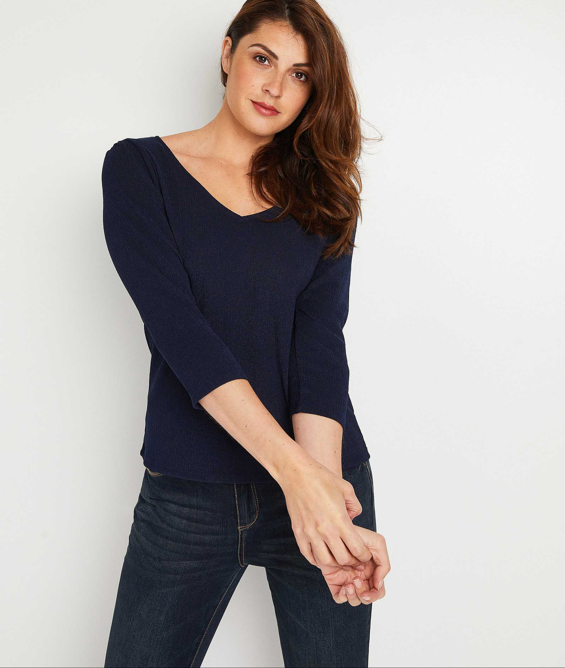 T-shirt uni femme MARINE
