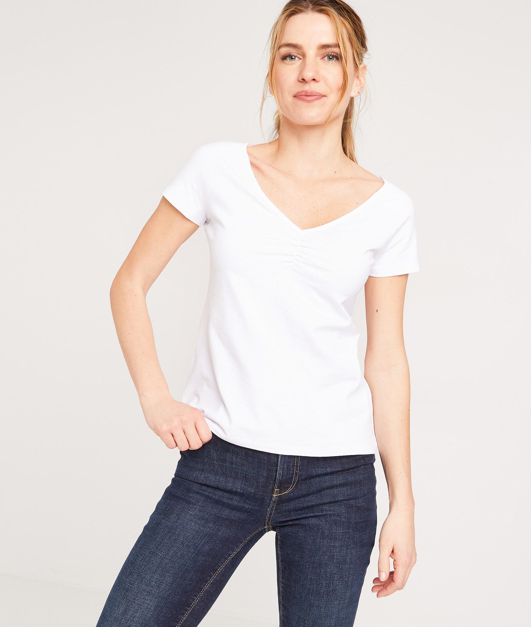 T-shirt uni en coton stretch femme BLANC