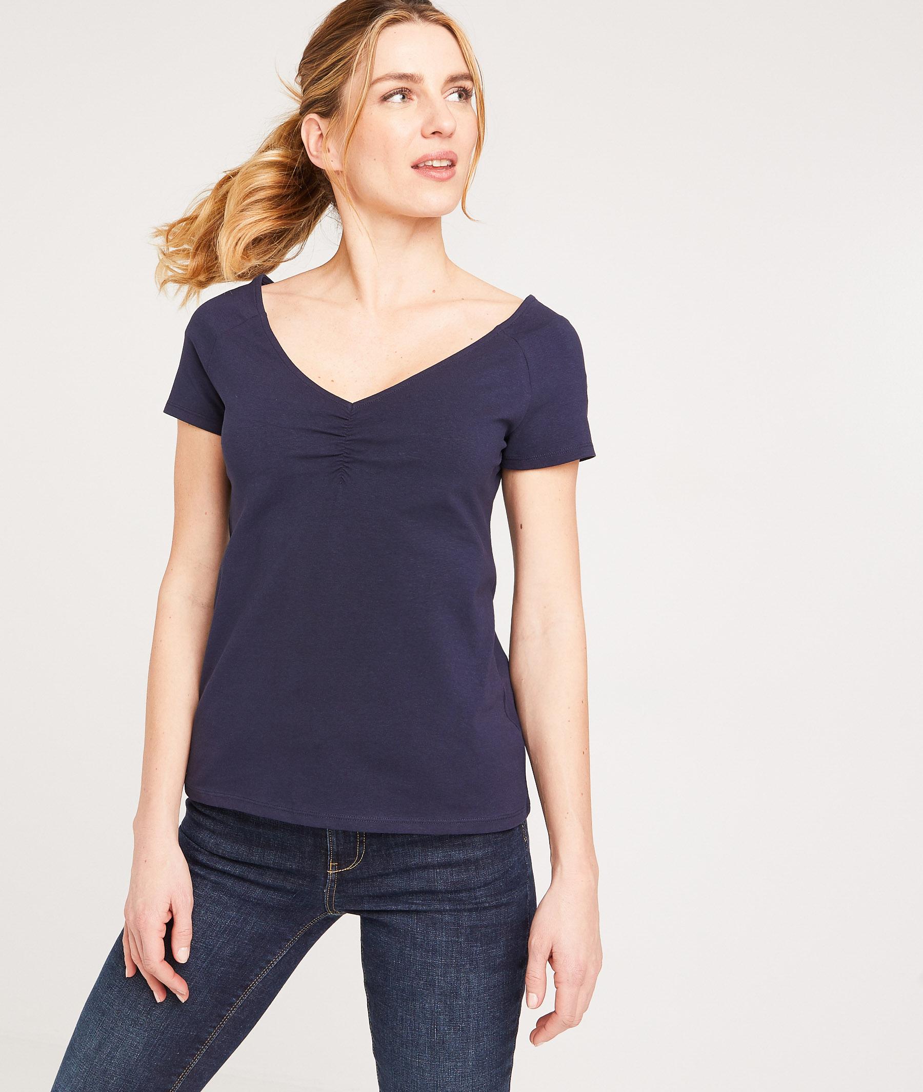T-shirt uni en coton stretch femme MARINE