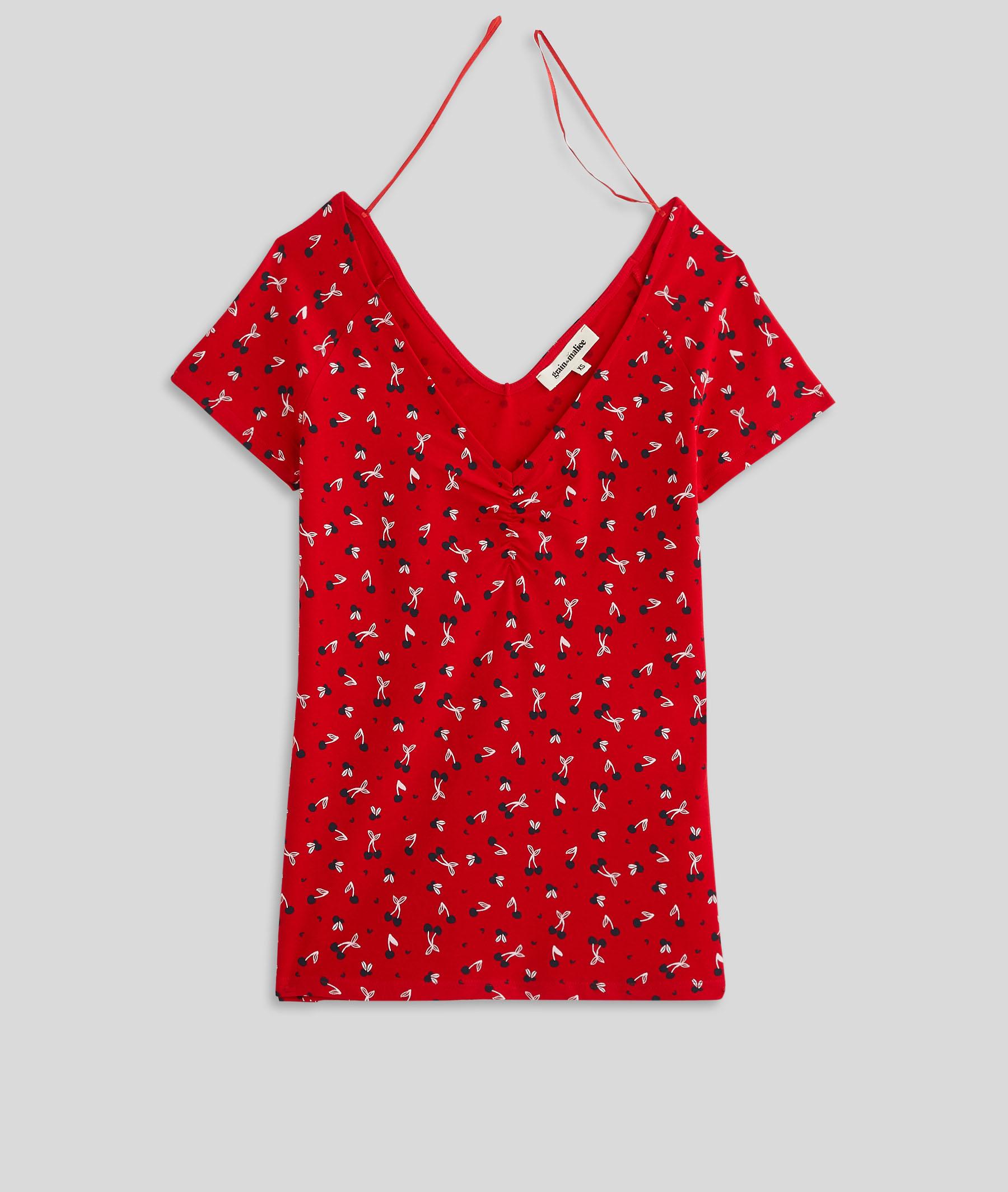 T-shirt imprimé en coton stretch femme ROUGE