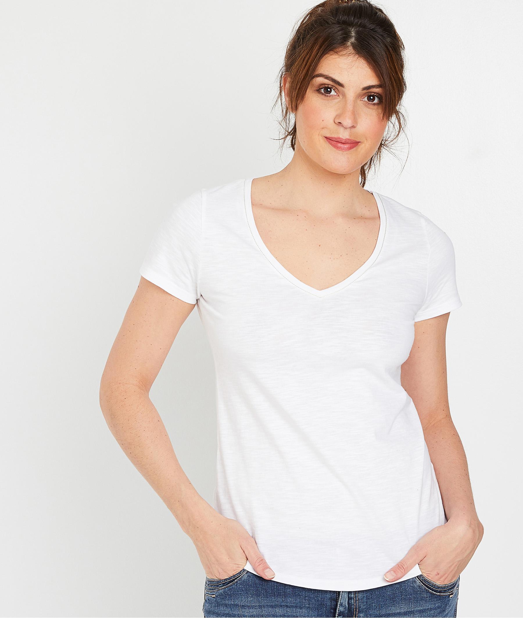 T-shirt 100% coton uni femme BLANC